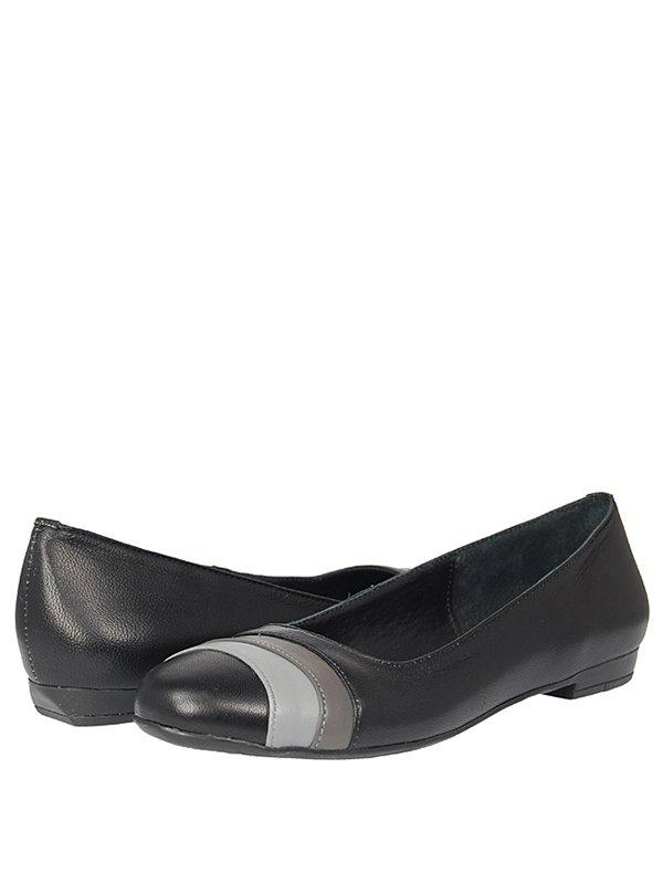 Туфли черные с двухцветной отделкой | 289559