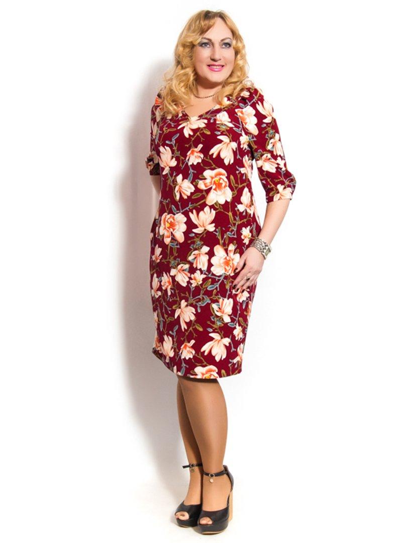 Платье бордовое в цветочный принт   3158970