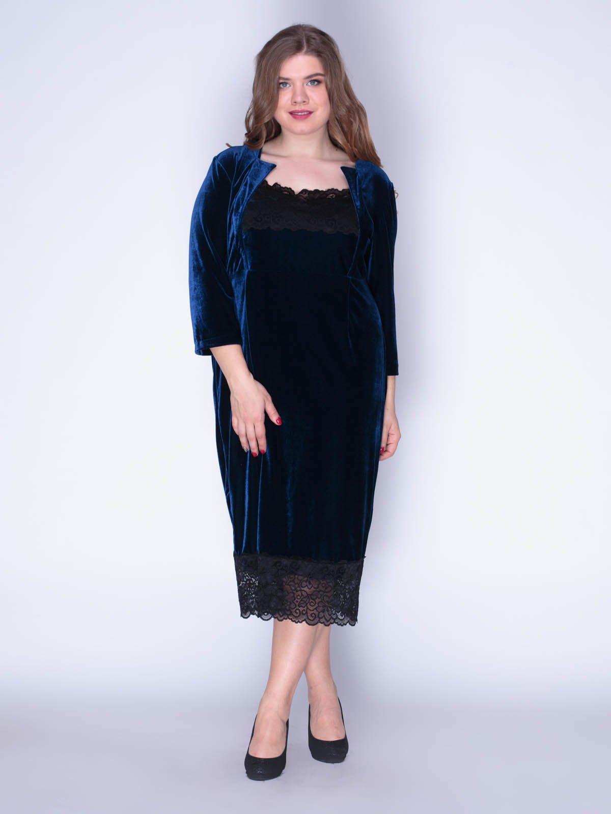 Сукня оксамитова темно-синя | 3130136