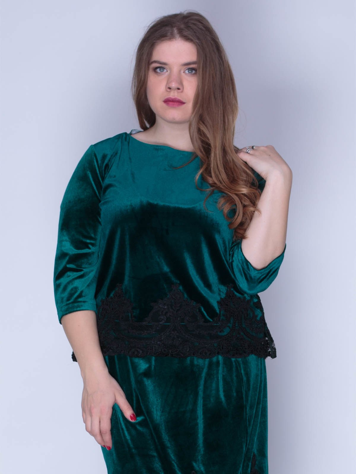 Блуза оксамитова смарагдова | 3158715