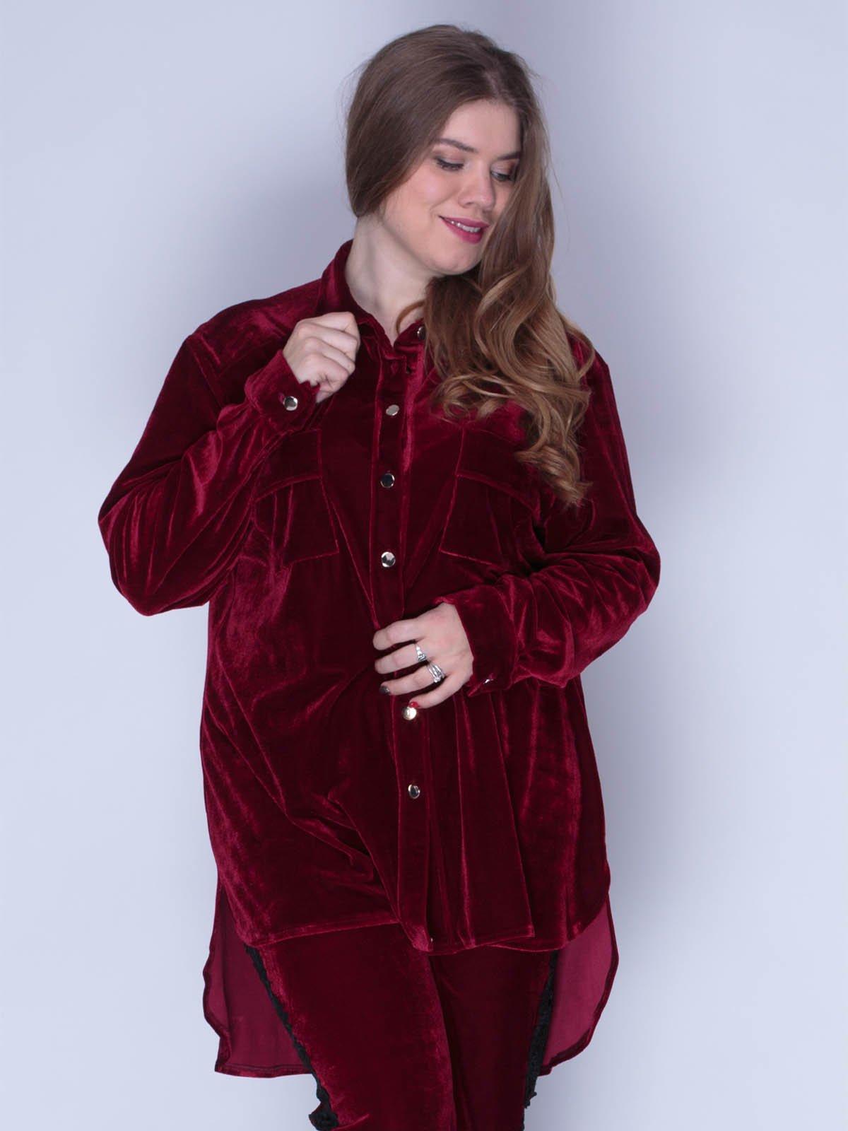 Рубашка из бархата красная | 3130121