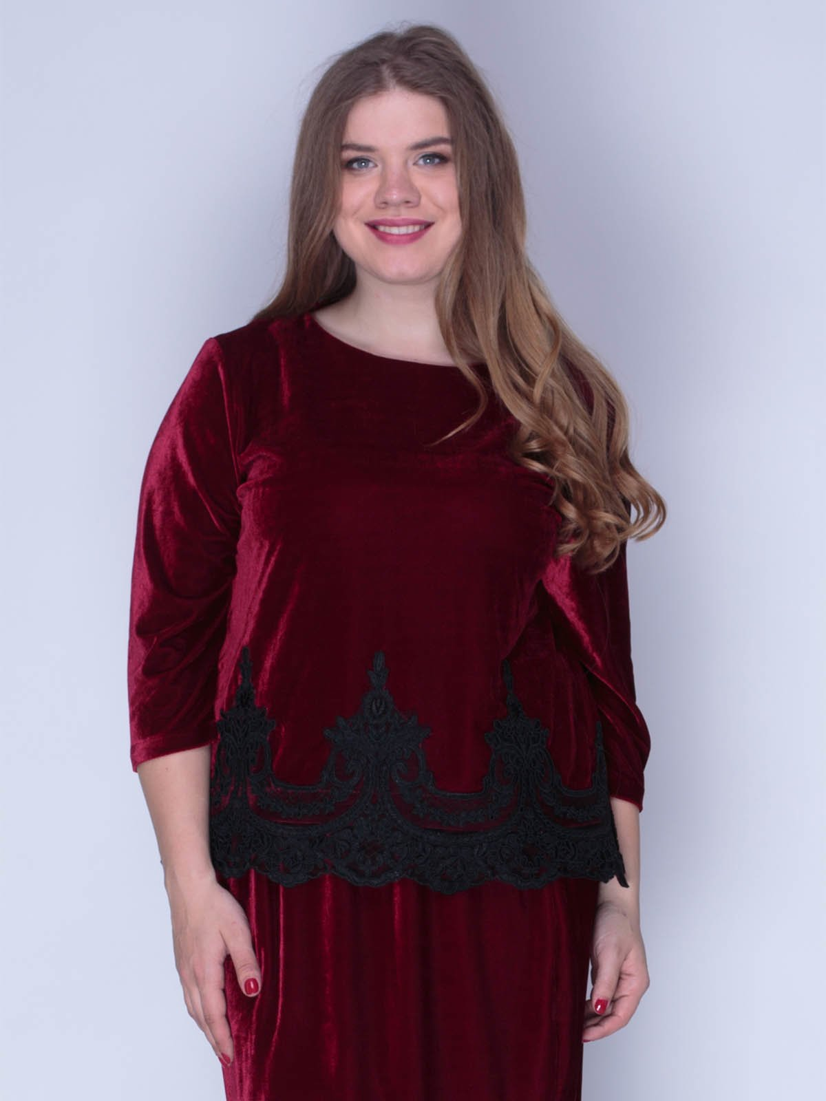 Блуза оксамитова червона | 3158713