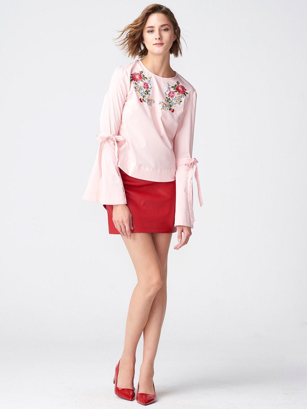 Блуза розовая с вышивкой | 3231799