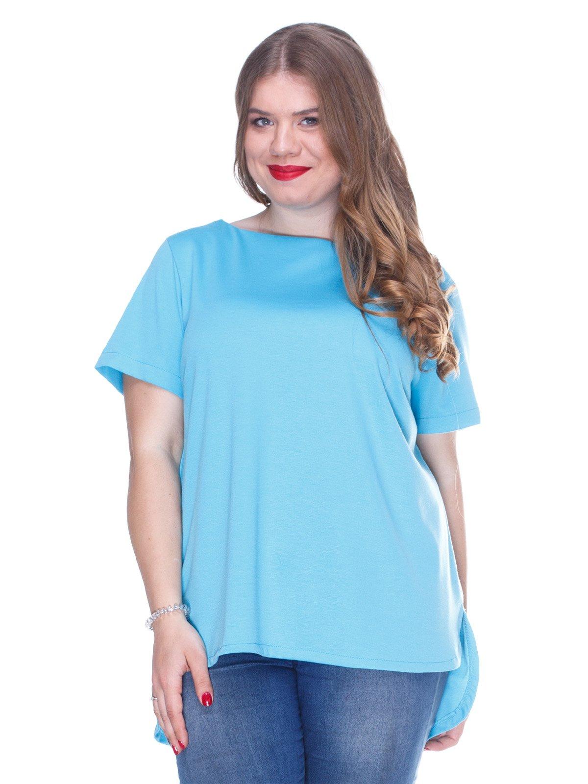 Блуза блакитна з асиметричним низом | 3234377
