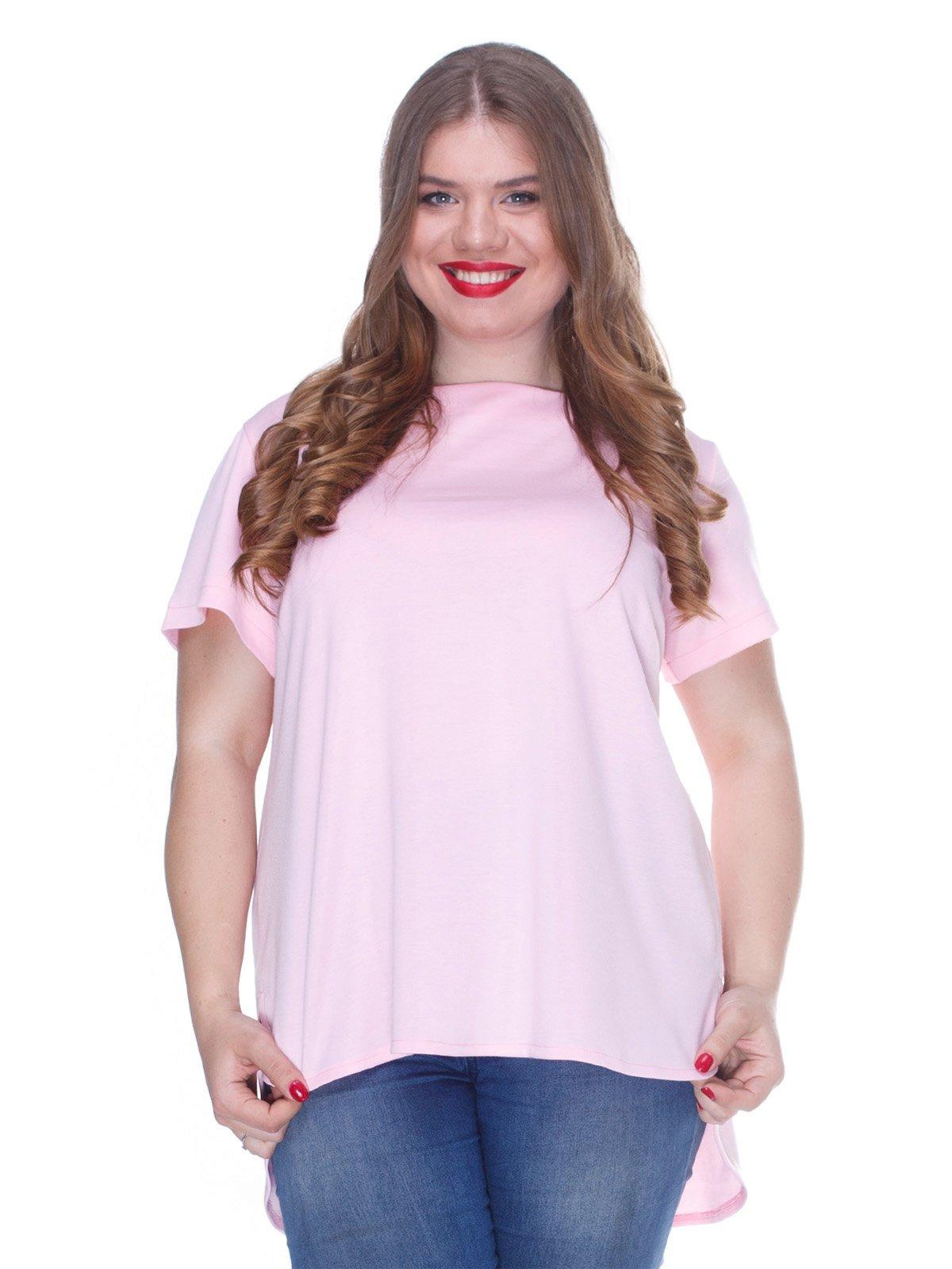 Блуза ніжно-рожева з асиметричним низом | 3246638