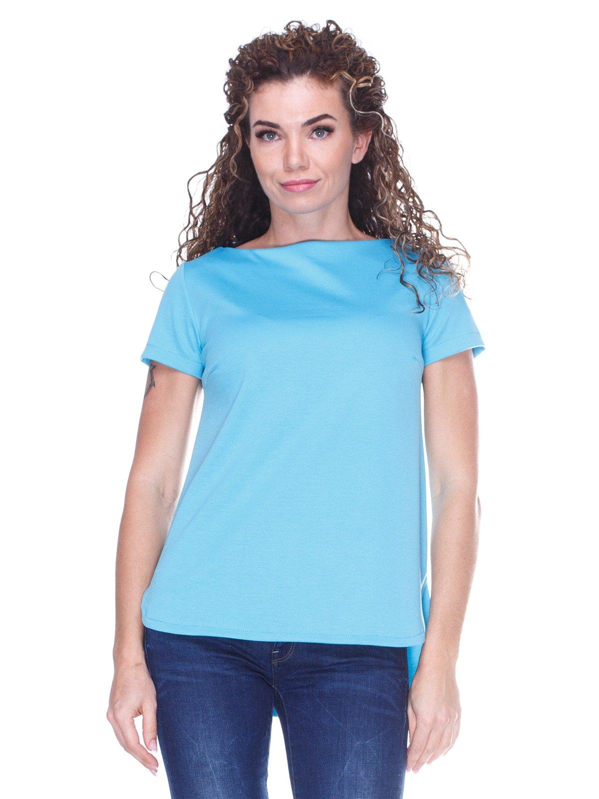Блуза блакитна з асиметричним низом | 3234376