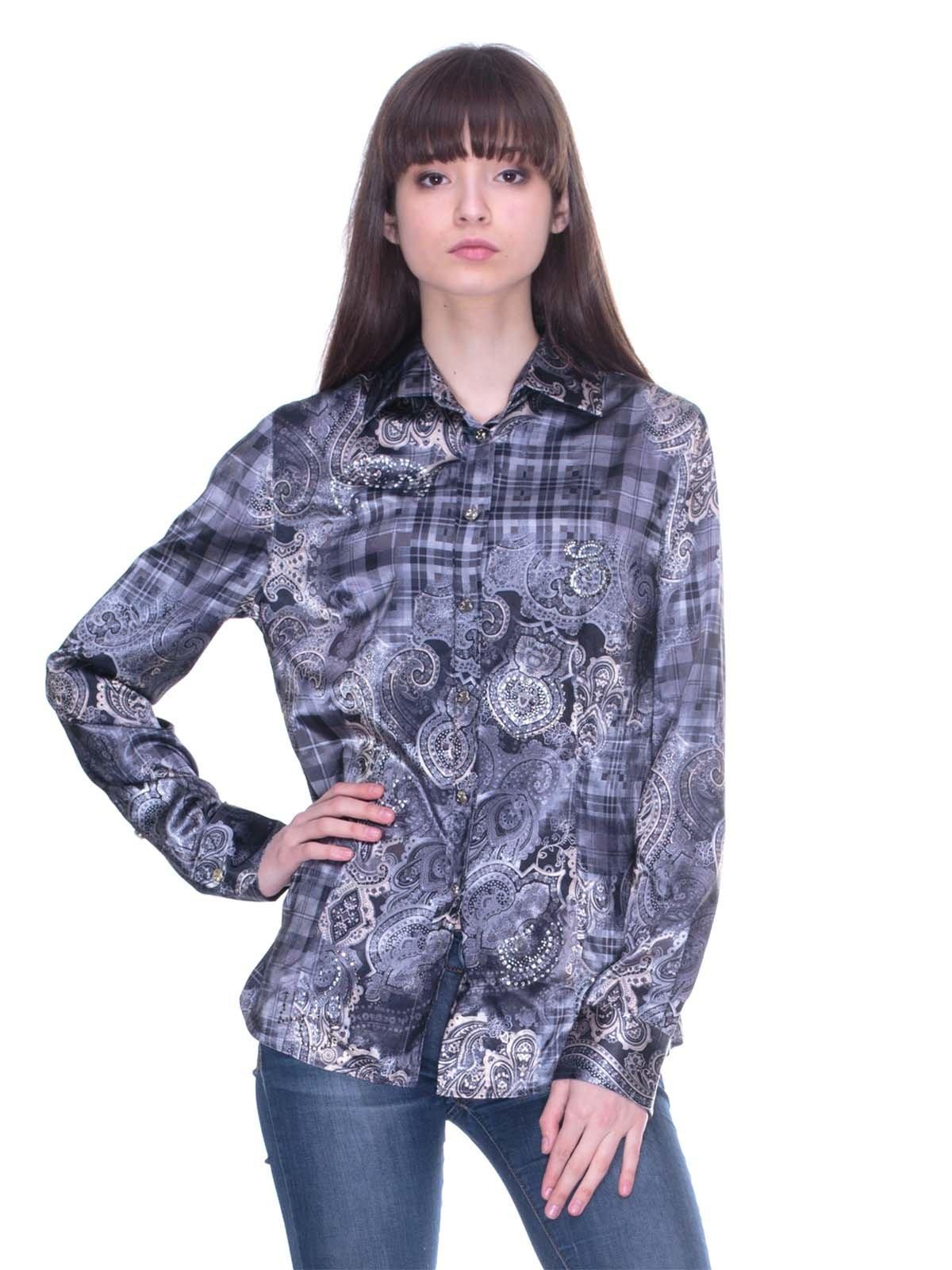 Рубашка серая с комбинированным принтом | 3138023