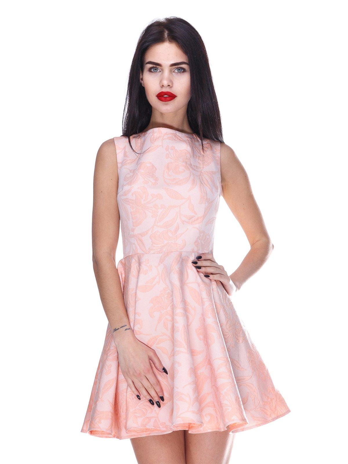 Сукня персикового кольору в принт | 3255703