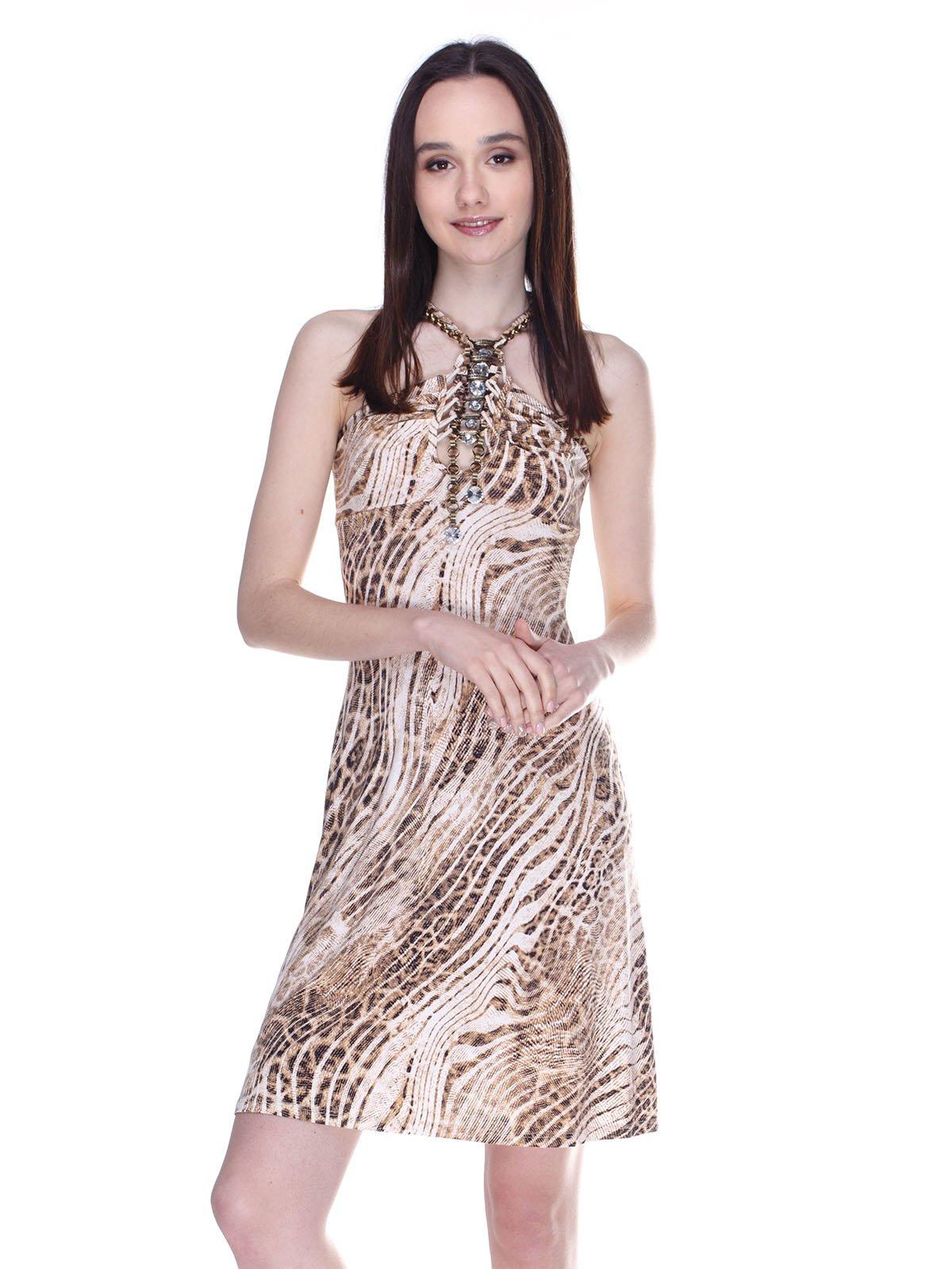Платье бежевое в принт | 3273293