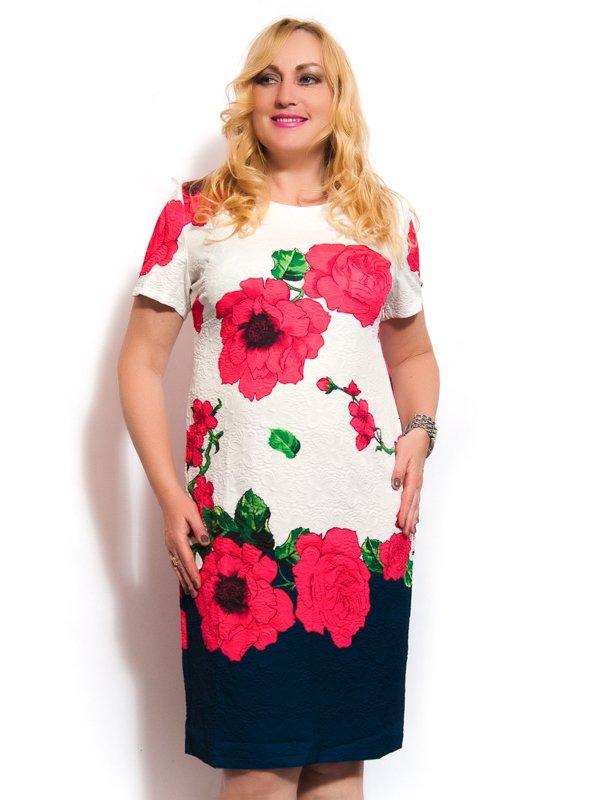 Платье белое с коралловыми цветами | 3286846