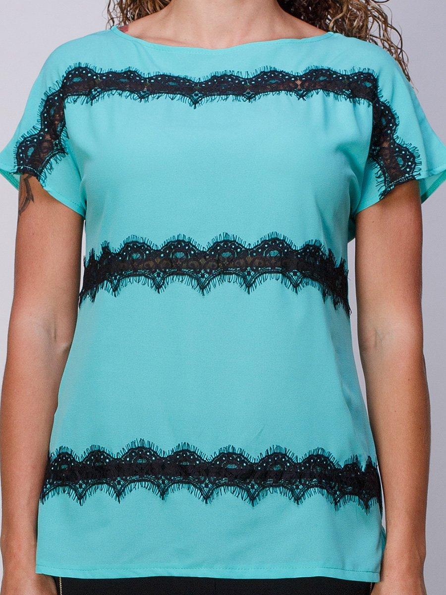 Блуза мятного цвета с кружевом | 3278009 | фото 3