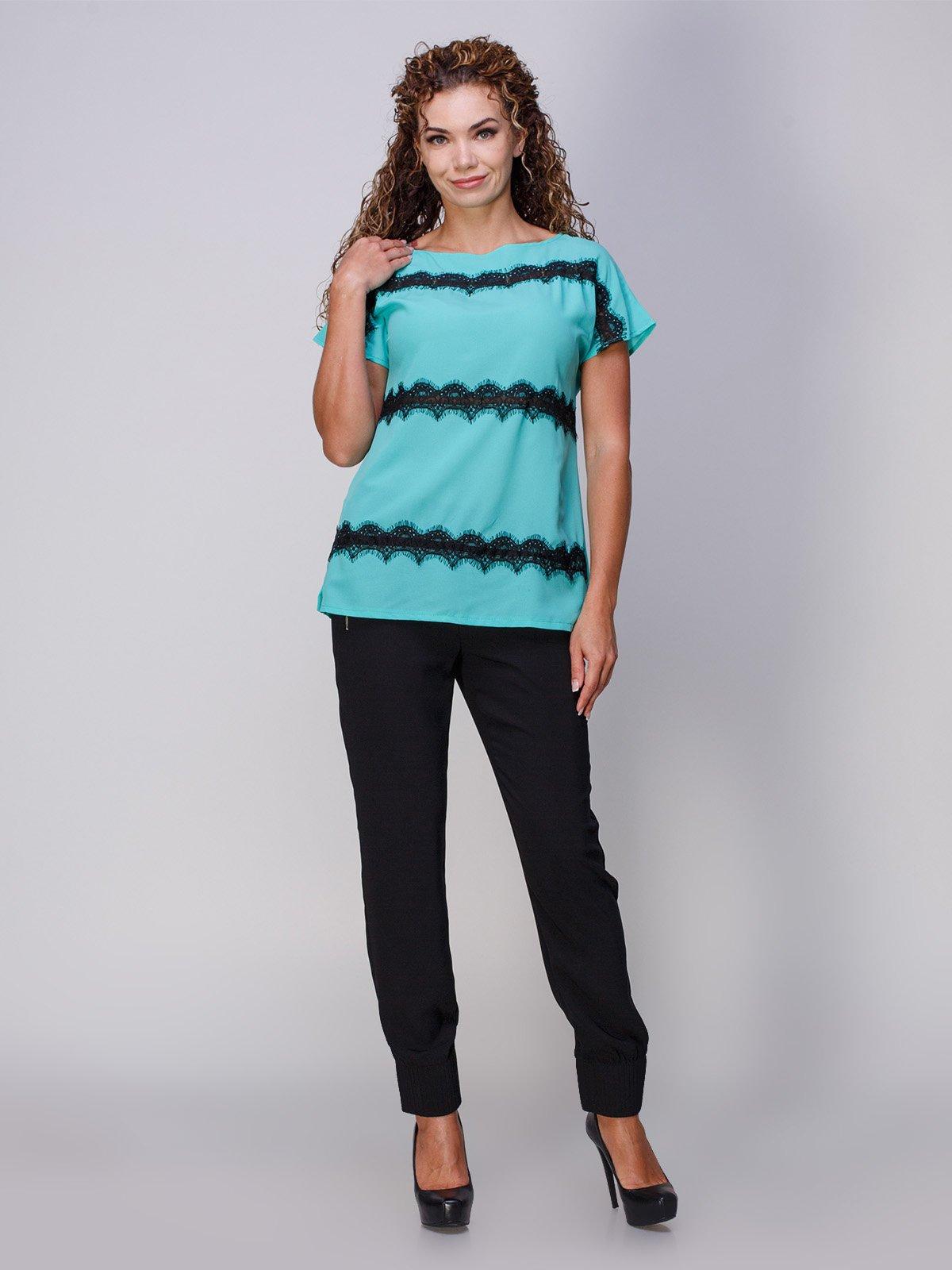 Блуза мятного цвета с кружевом | 3278009 | фото 4