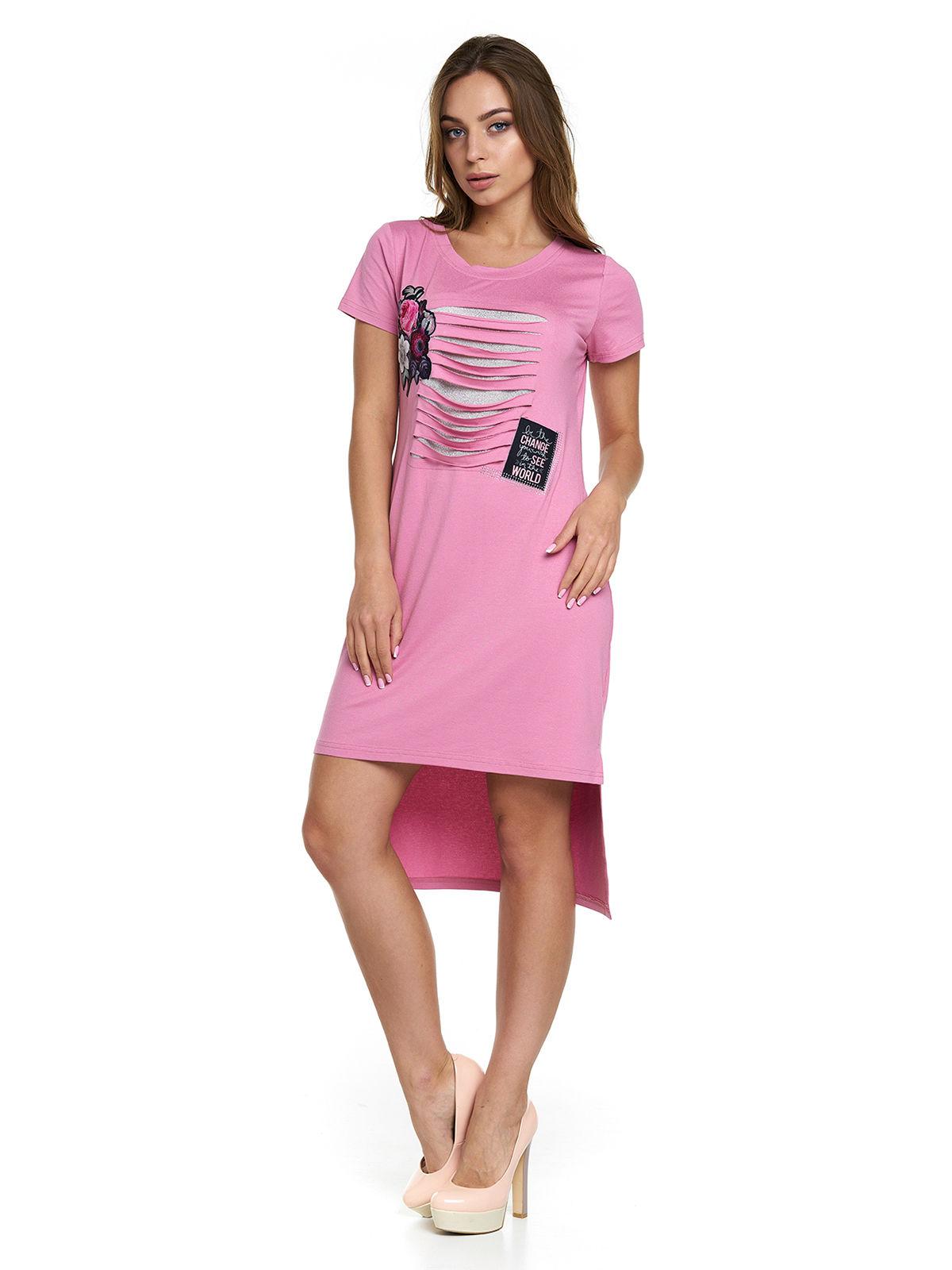 Сукня рожева з принтом | 3299636