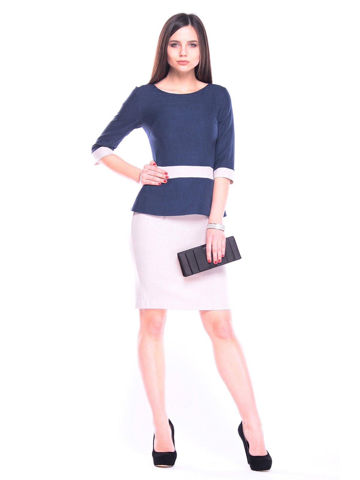 Сукня темно-синя з бежевим | 3091041