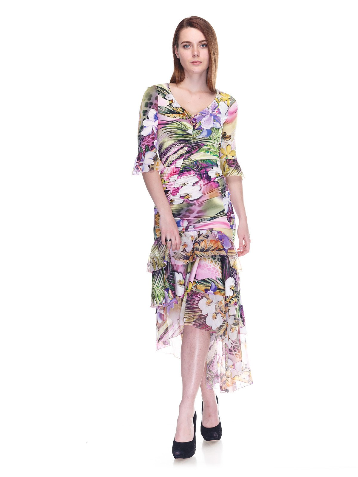 Платье комбинированной расцветки | 3297459