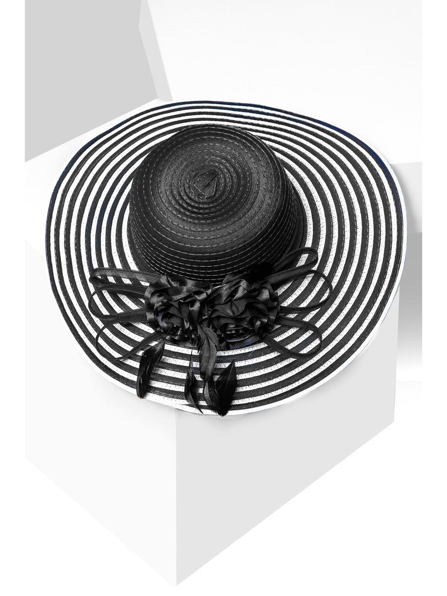 Шляпа черная с полями в полоску | 3311518