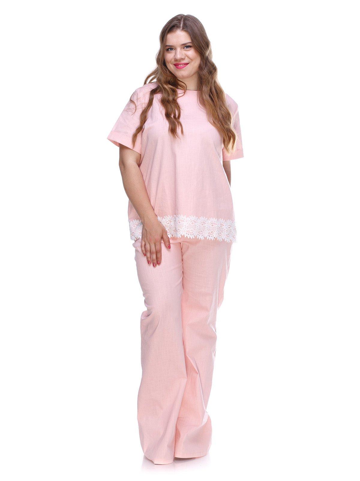 Костюм з льону рожевого кольору з мереживом | 3287743