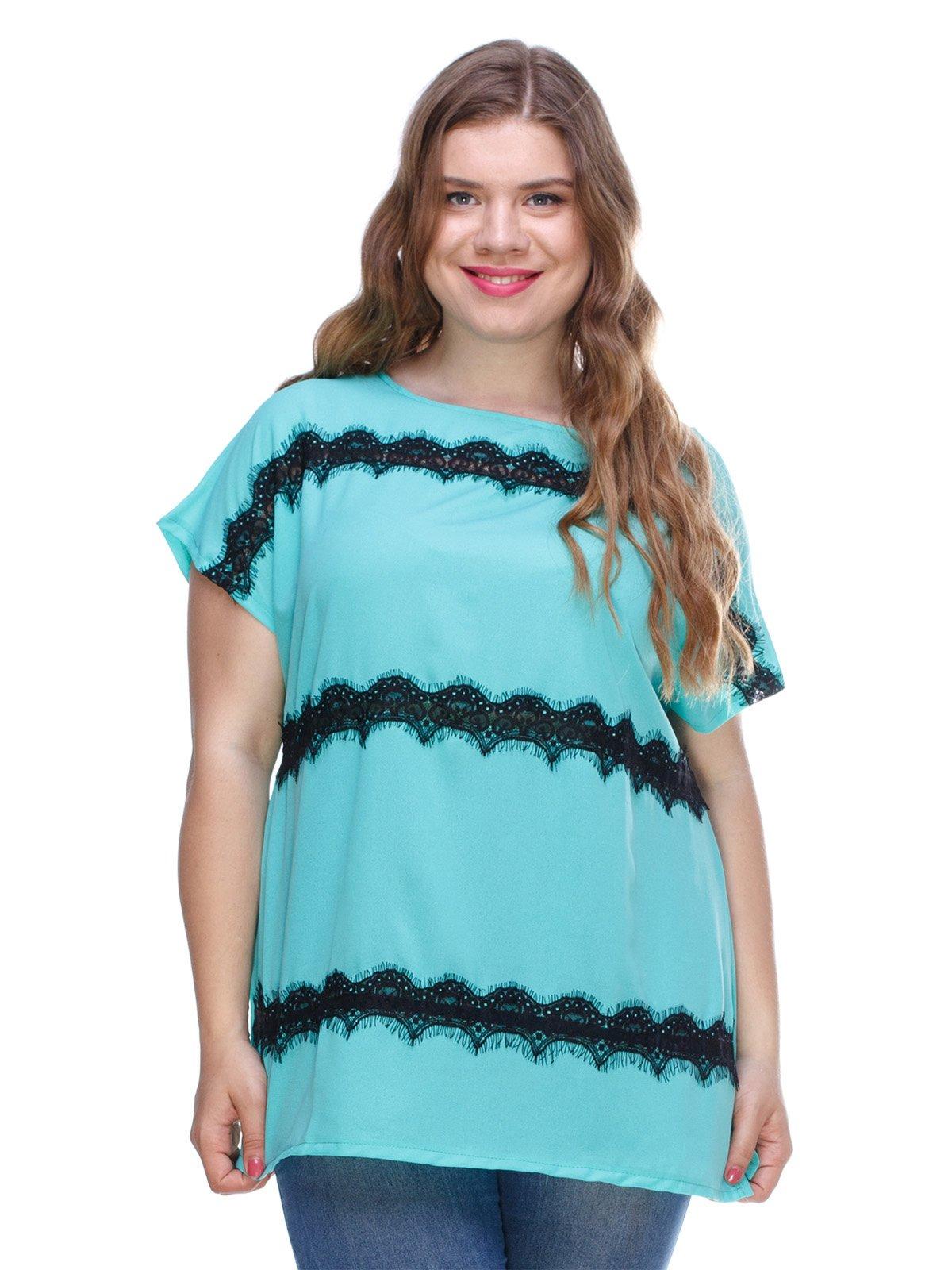 Блуза м'ятного кольору з мереживом | 3287744