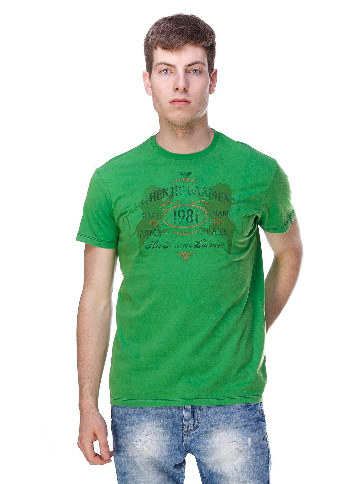 Футболка зелена з принтом | 3309080
