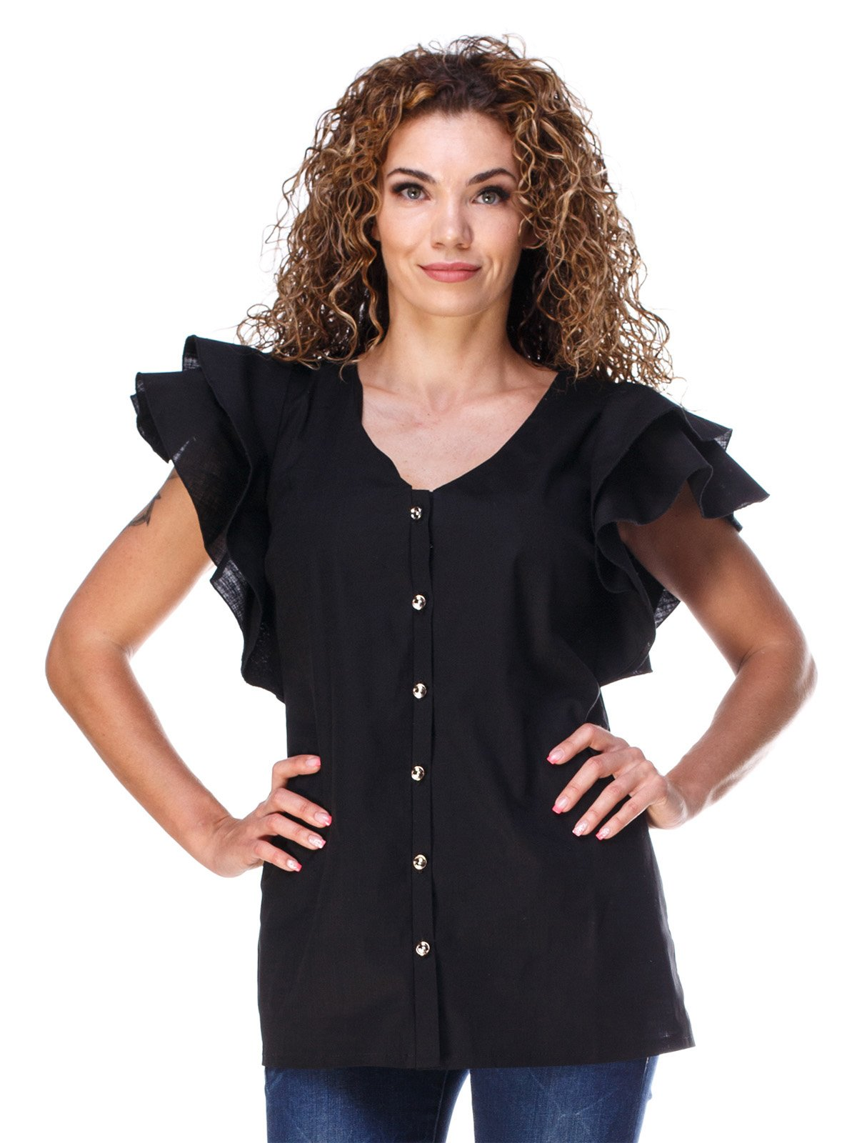 Блуза из льна черная | 3315336