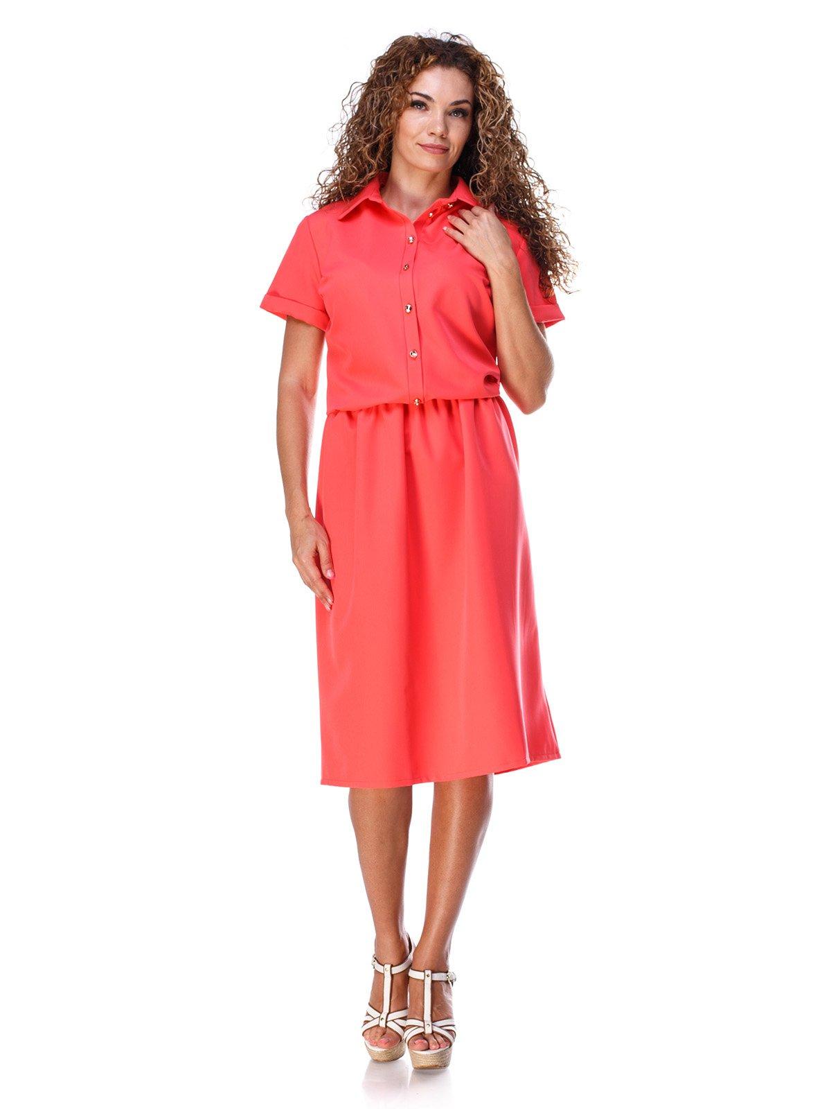 Сукня коралового кольору зі зручним поясом на резинці | 3315328