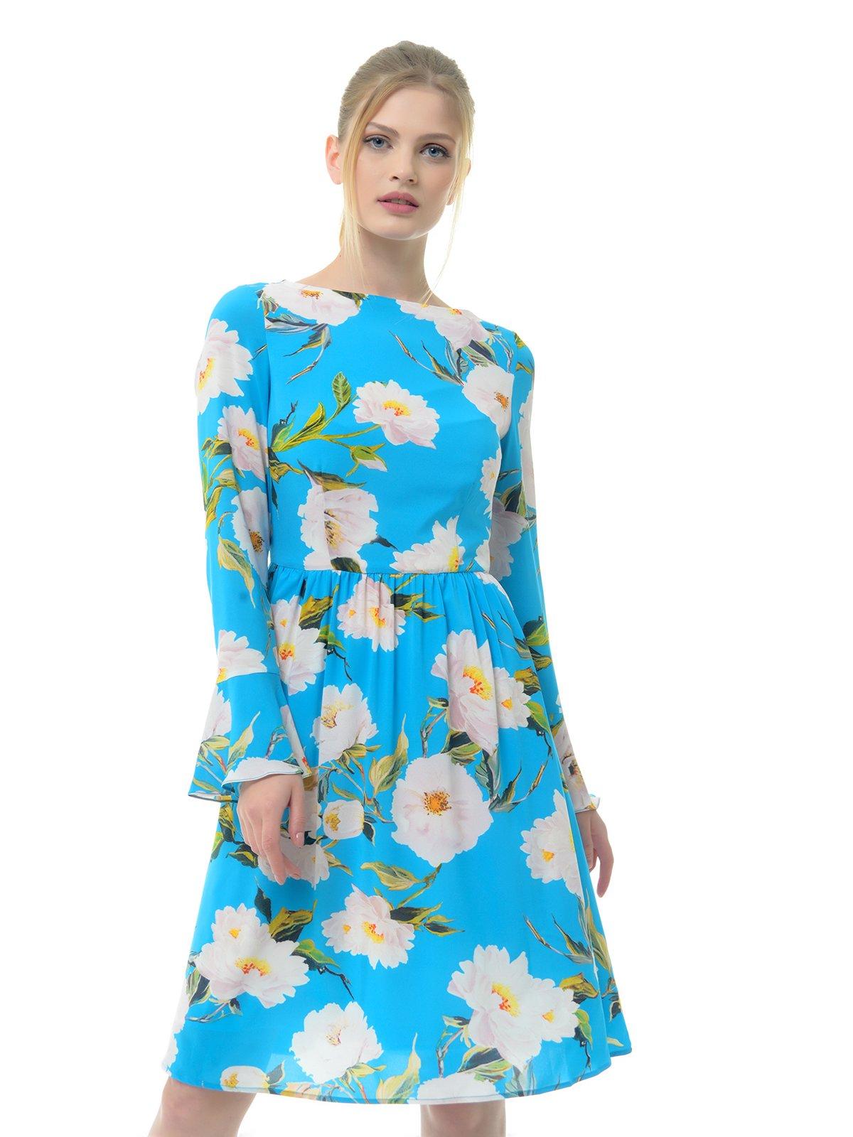 Платье голубое в цветочный принт | 3321984