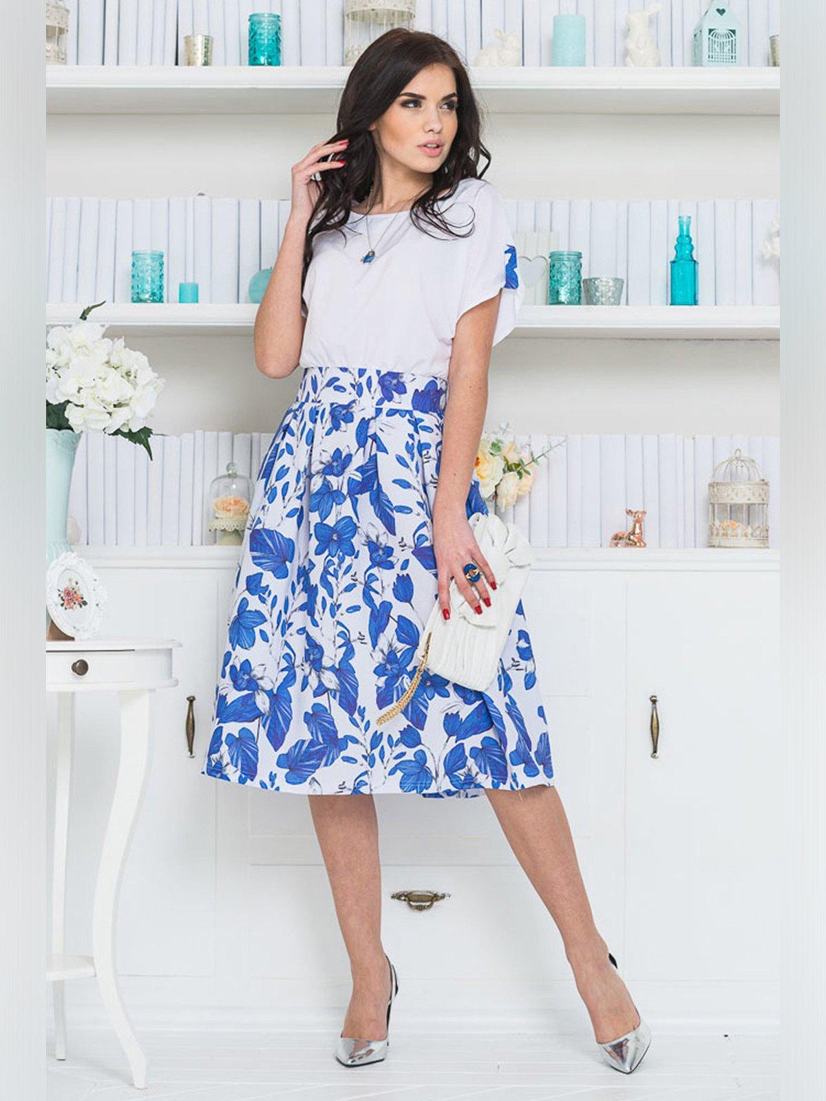 Платье бело-синее | 3343364