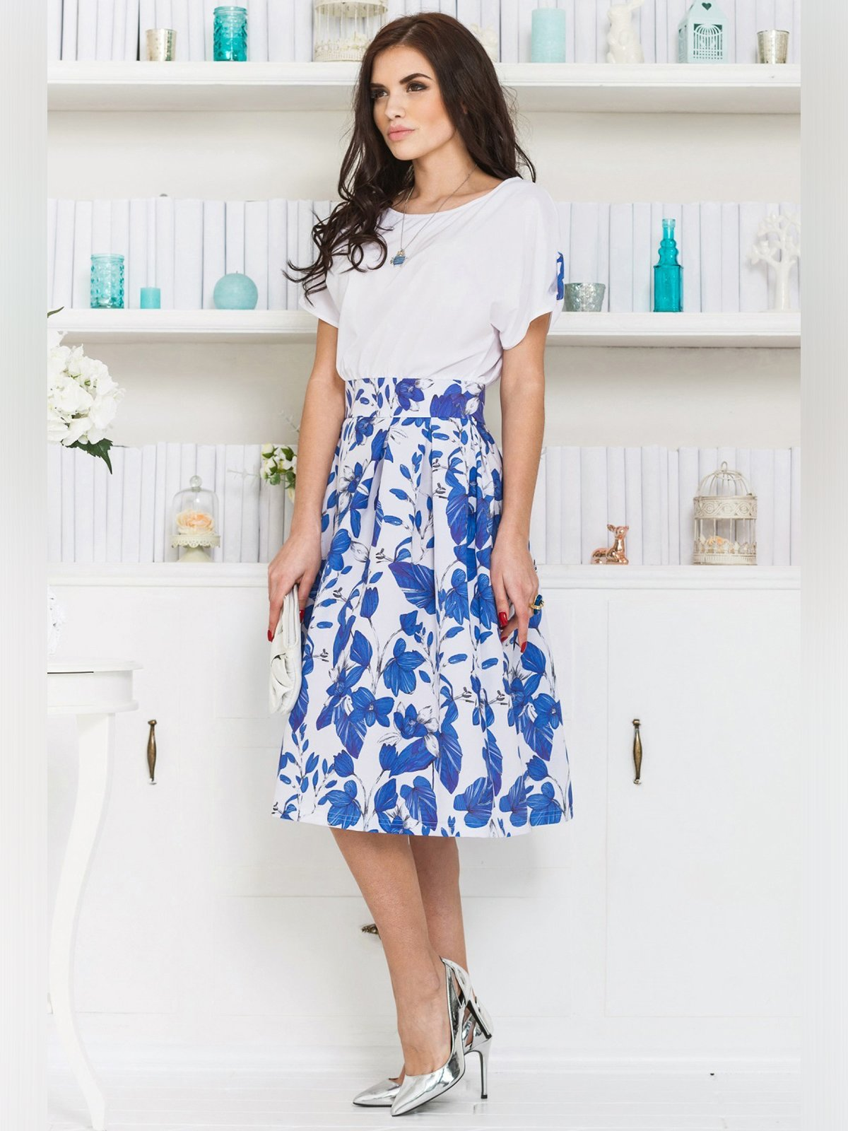 Платье бело-синее | 3343364 | фото 2