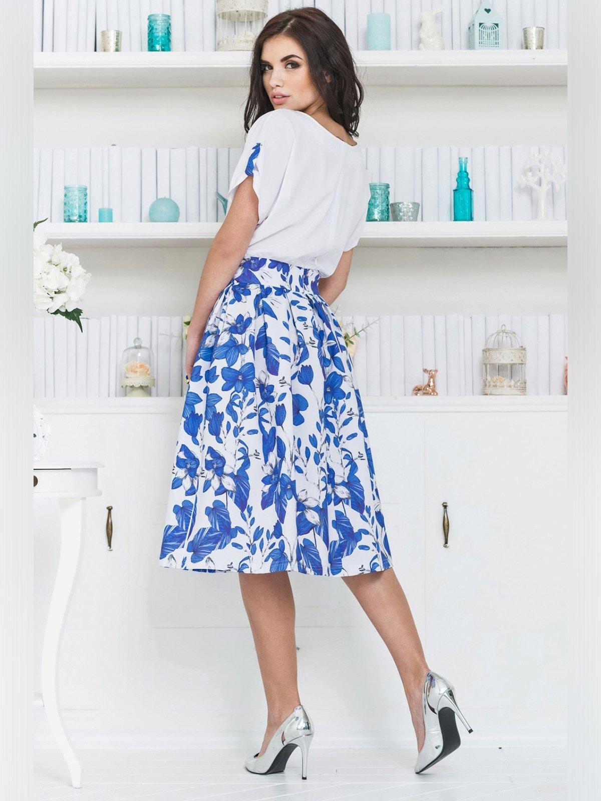 Платье бело-синее | 3343364 | фото 3