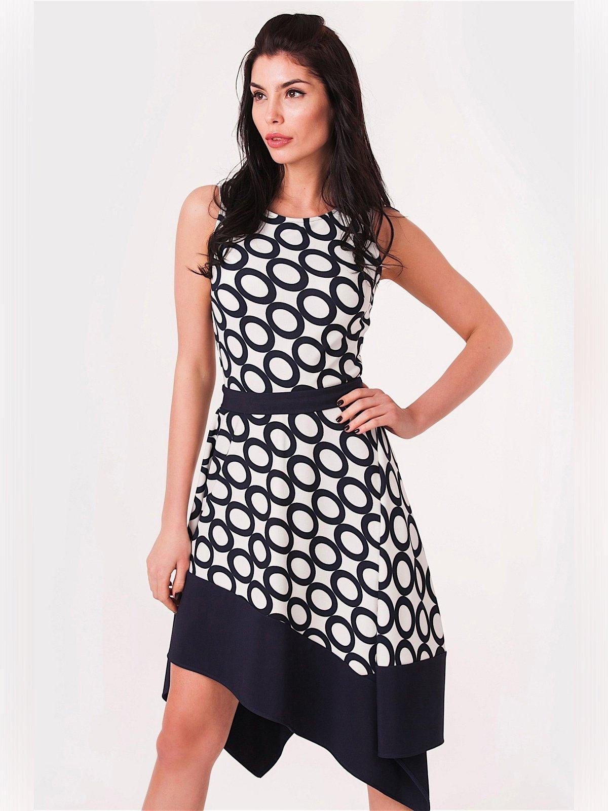 Платье черно-белое с принтом | 3343384