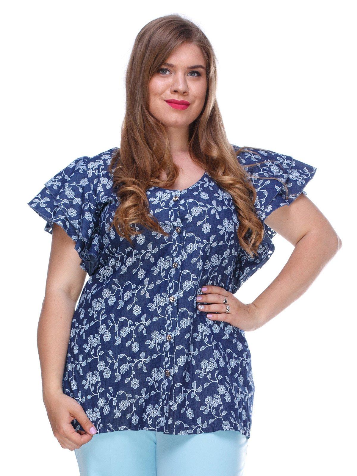 Блуза з легкого джинса з квітковою перфорацією   3328737