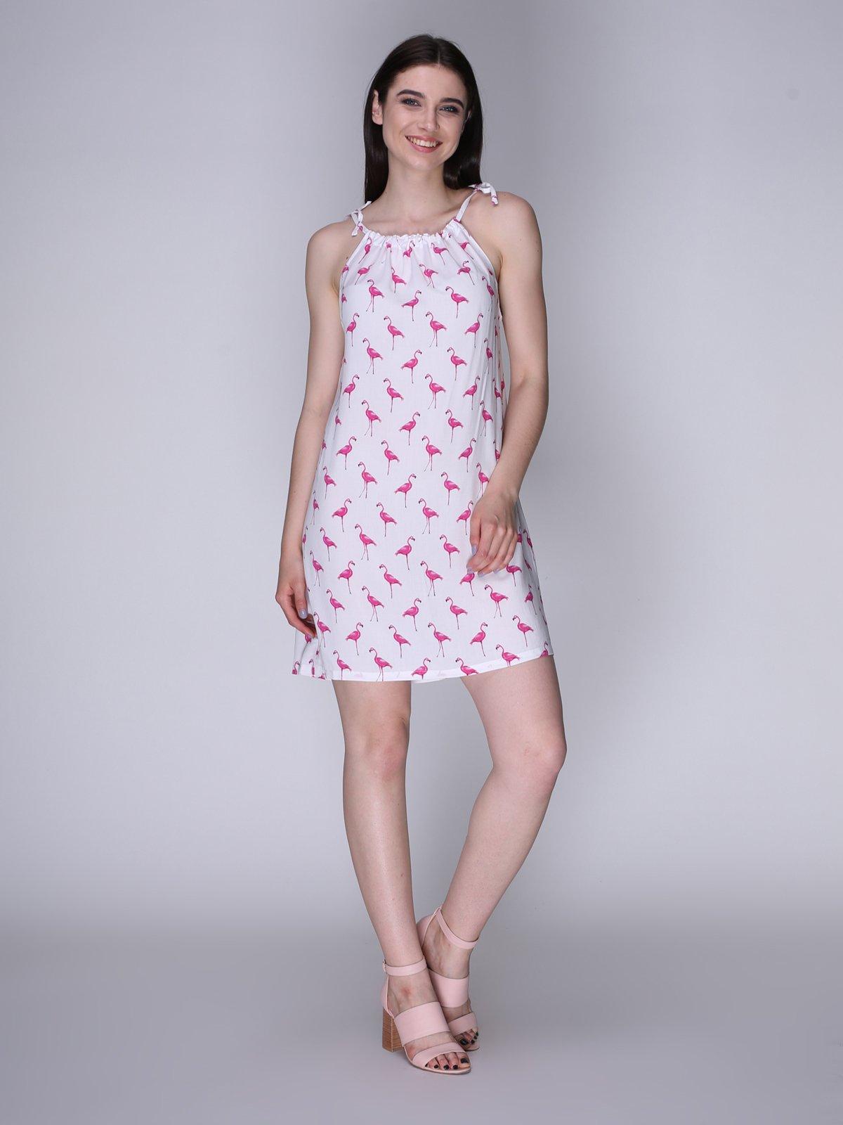 Сукня біла з фламінго | 3365841