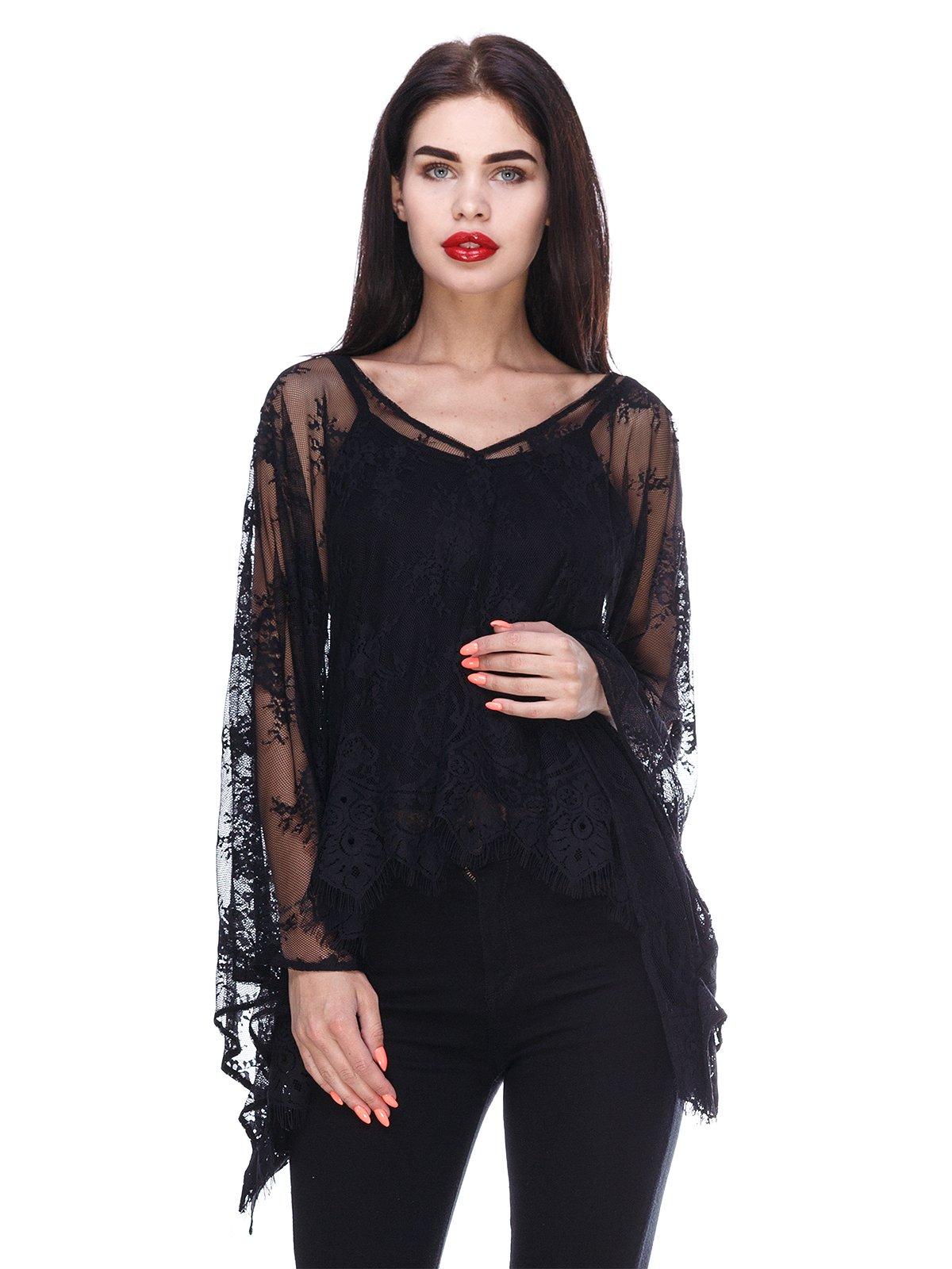 Блуза чорна з гіпюровою накидкою | 3366134