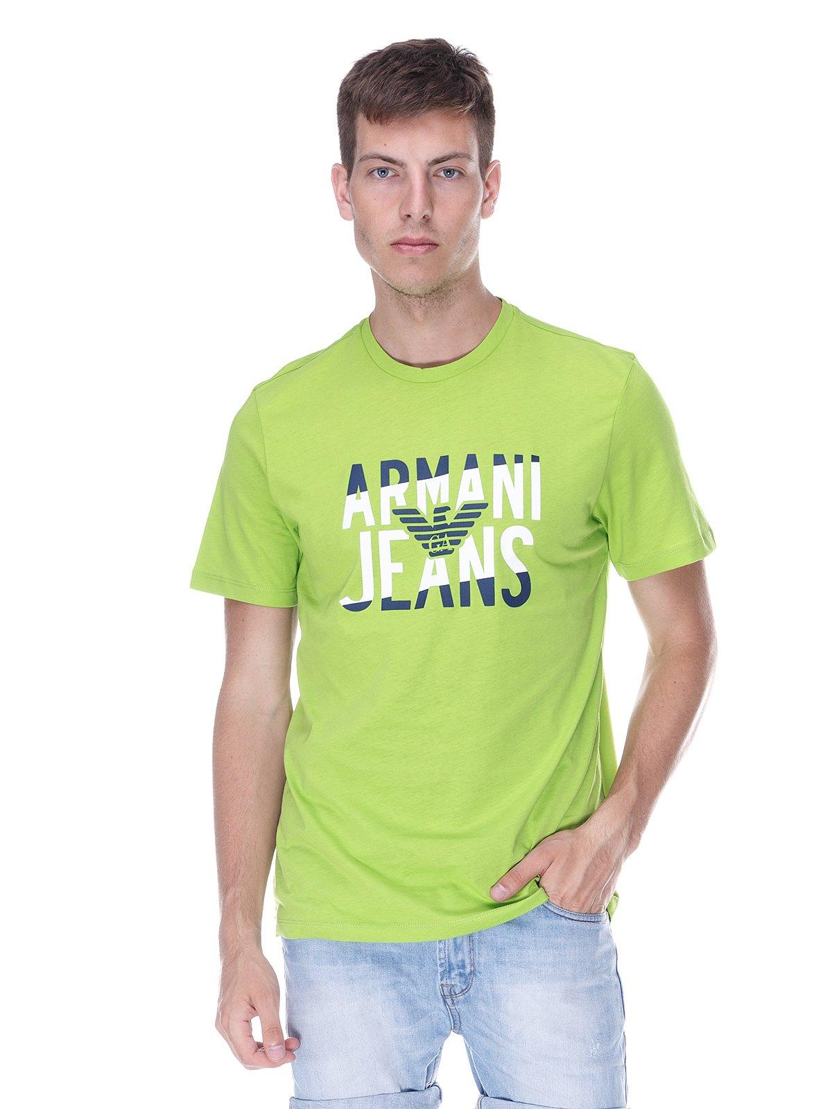 Футболка салатова з принтом | 3382958