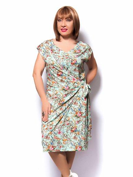 Платье бирюзовое в цветочный принт | 3384834