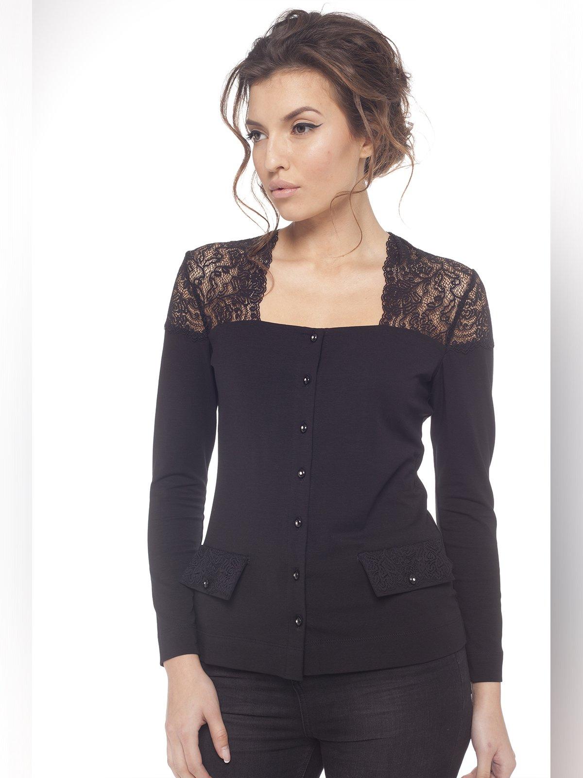 Блуза черная с кружевом | 3106549