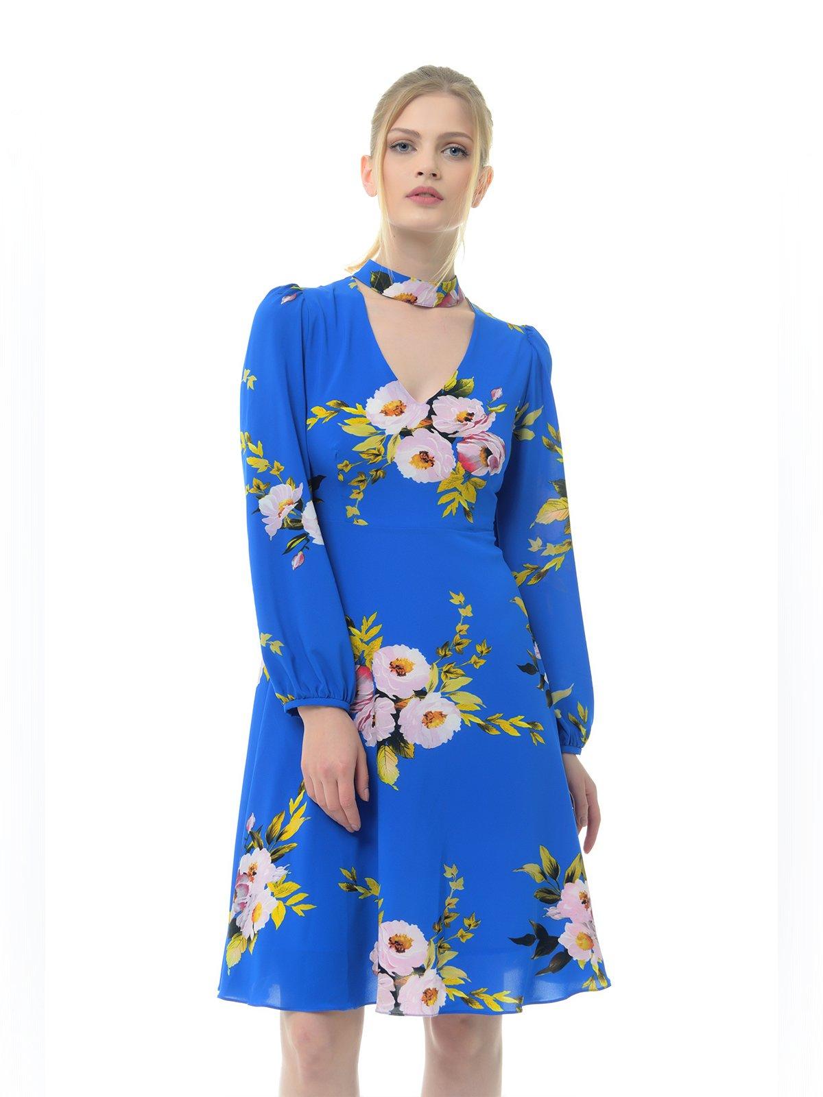 Платье синее в цветочный принт | 3386740