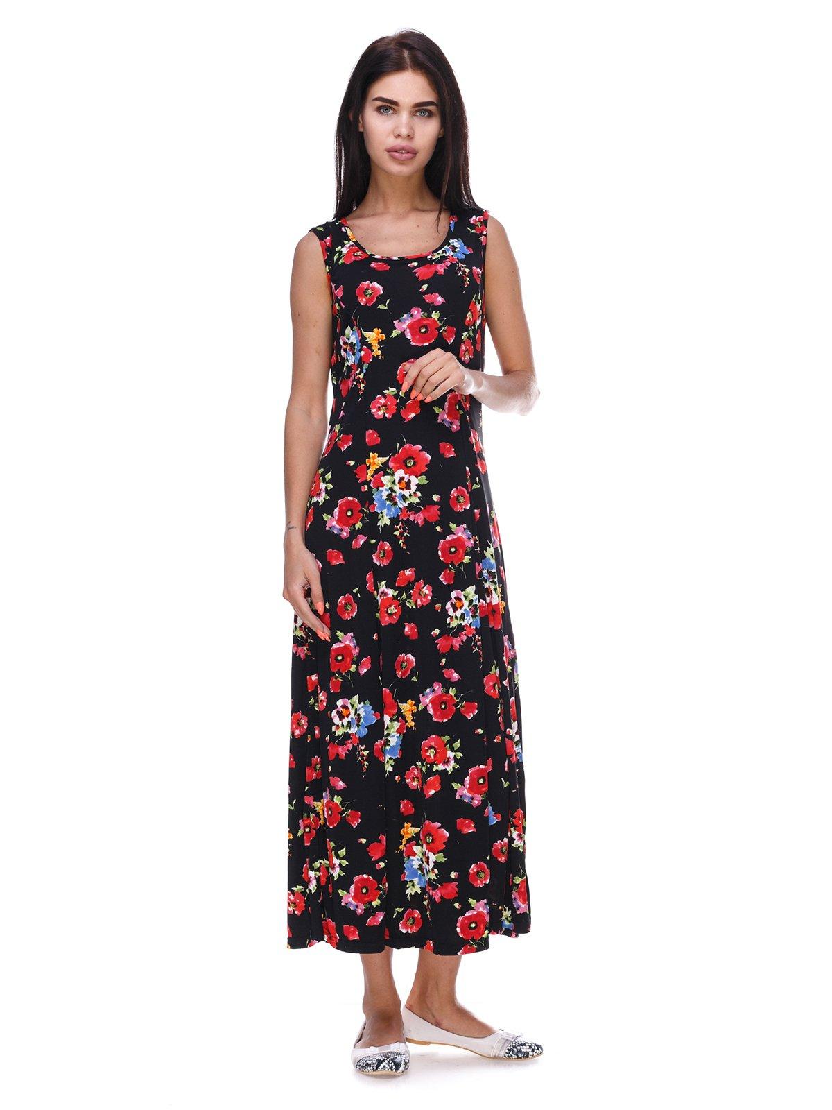 Сукня чорна з квітковим принтом | 3387662
