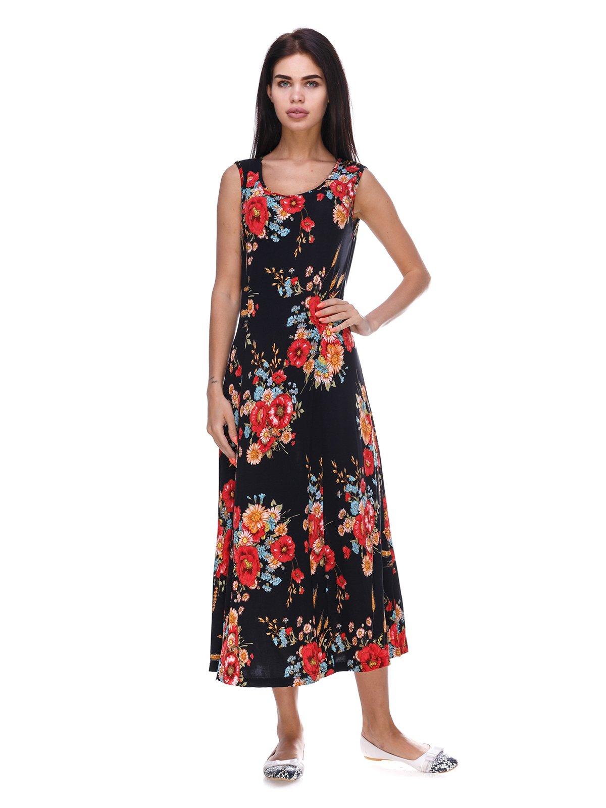 Сукня чорна з квітковим принтом | 3387748