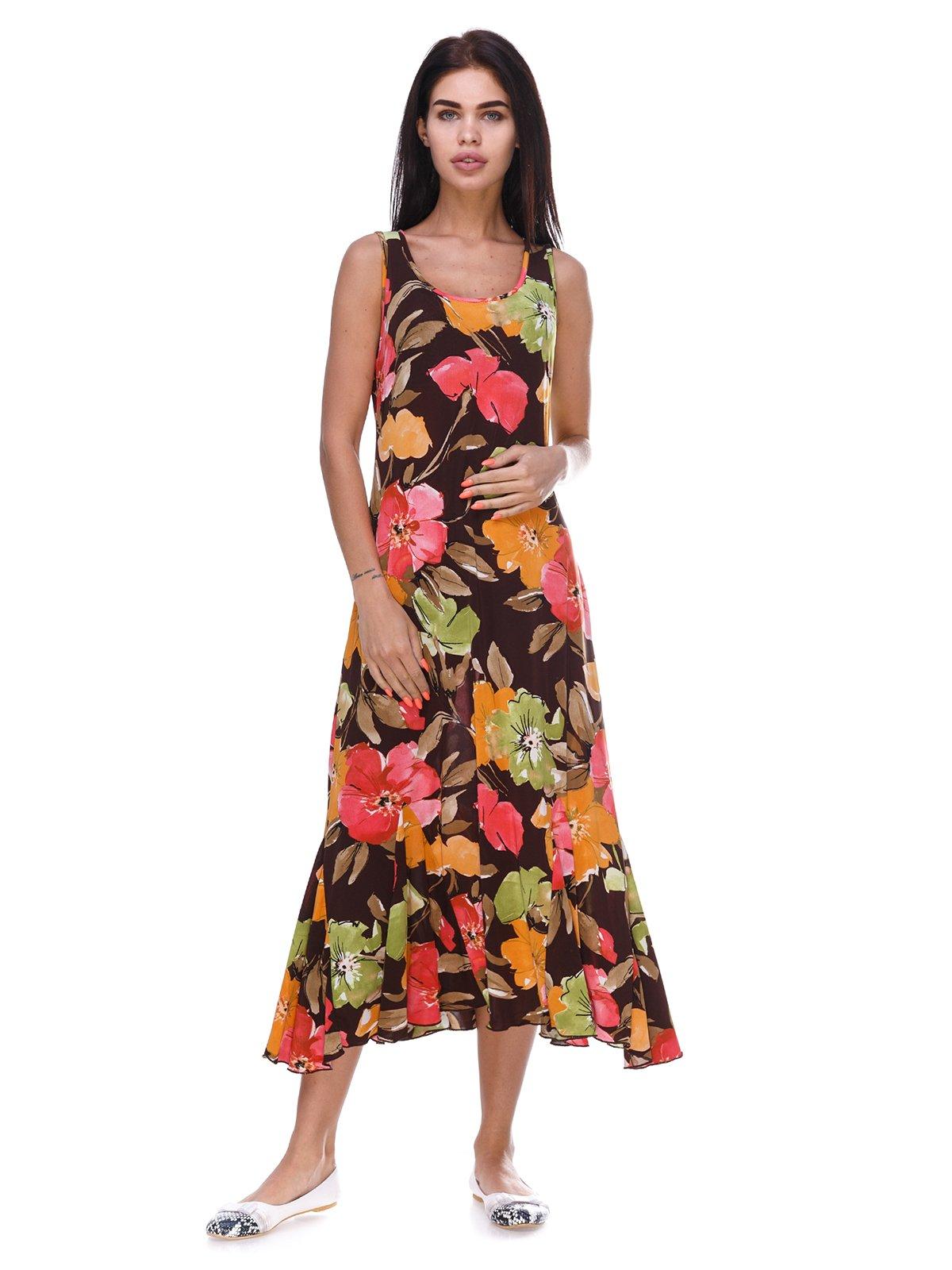 Платье коричневое с цветочным принтом | 3387697