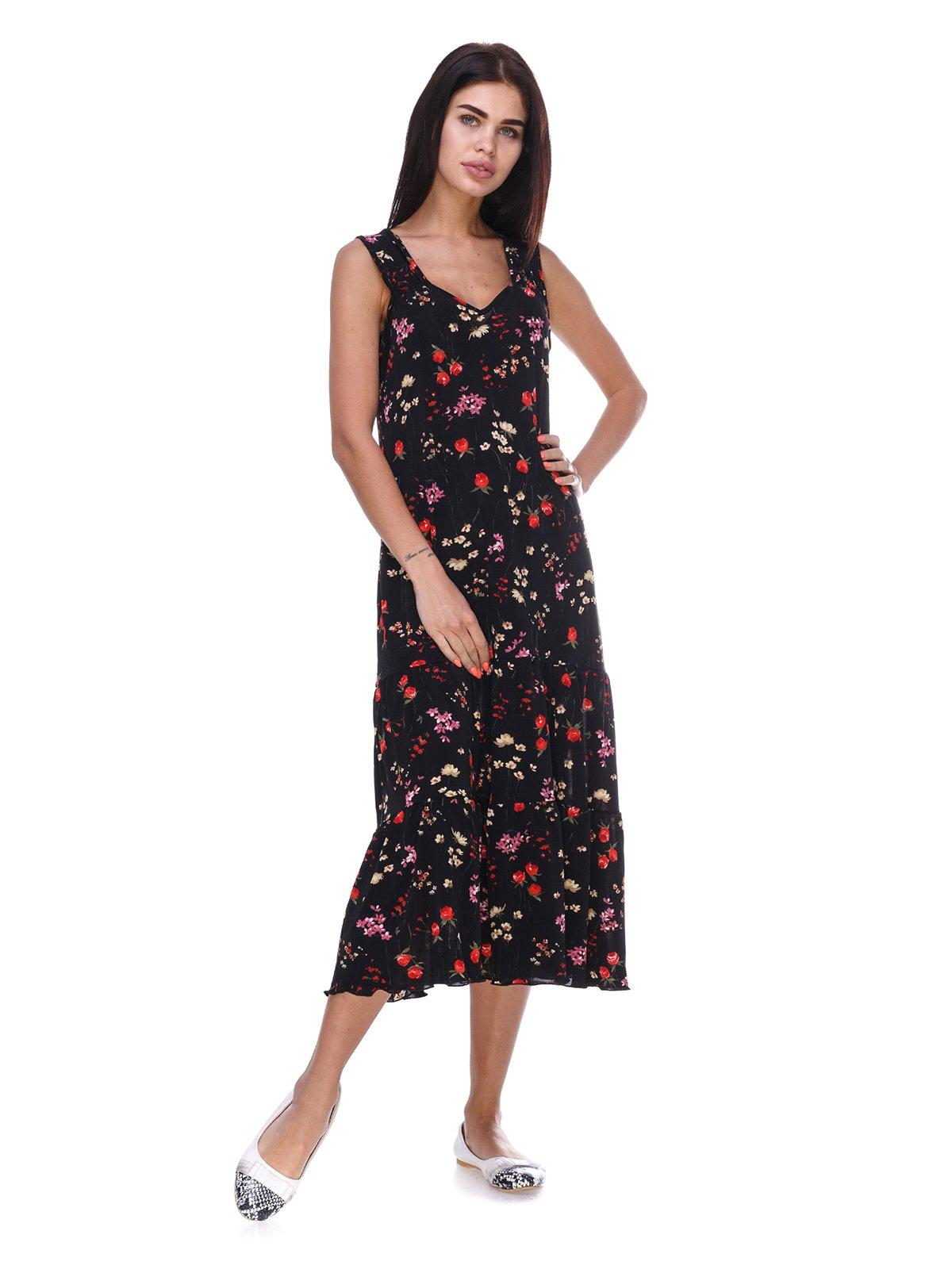 Платье черное с цветочным принтом | 3387658