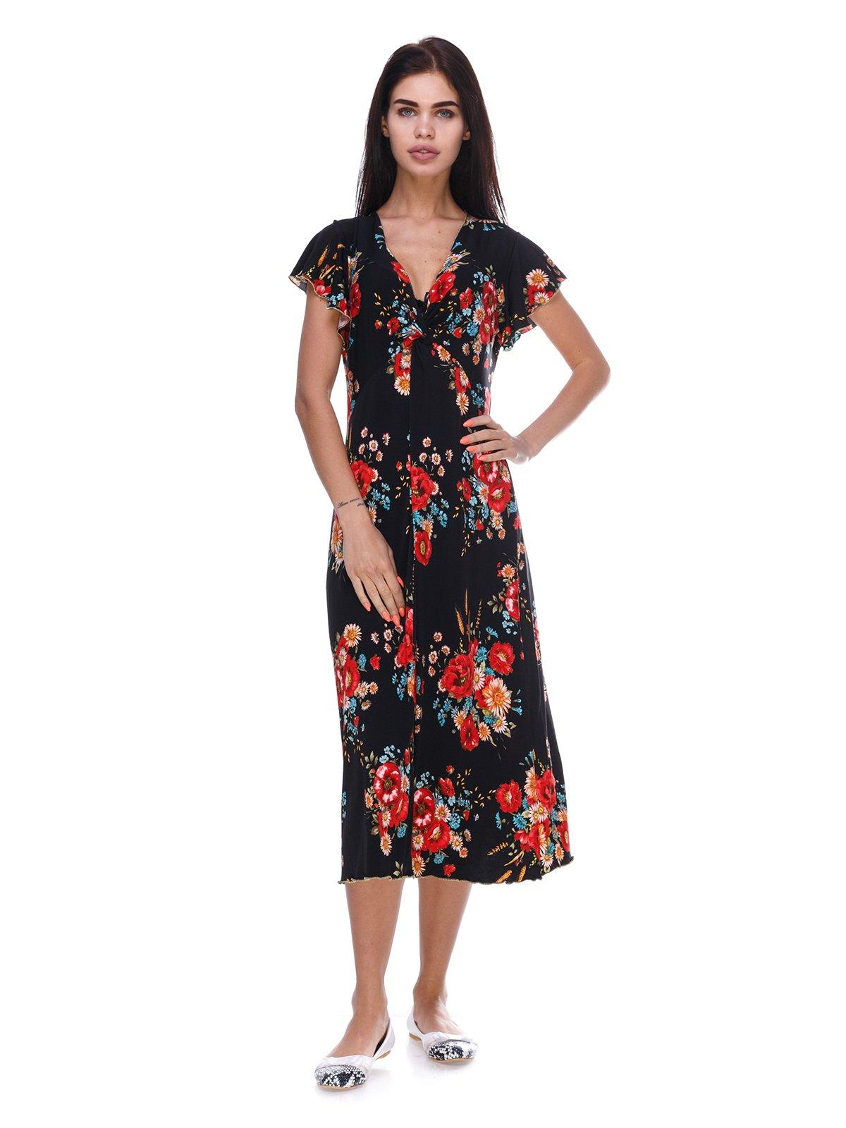 Платье черное с цветочным принтом   3387677