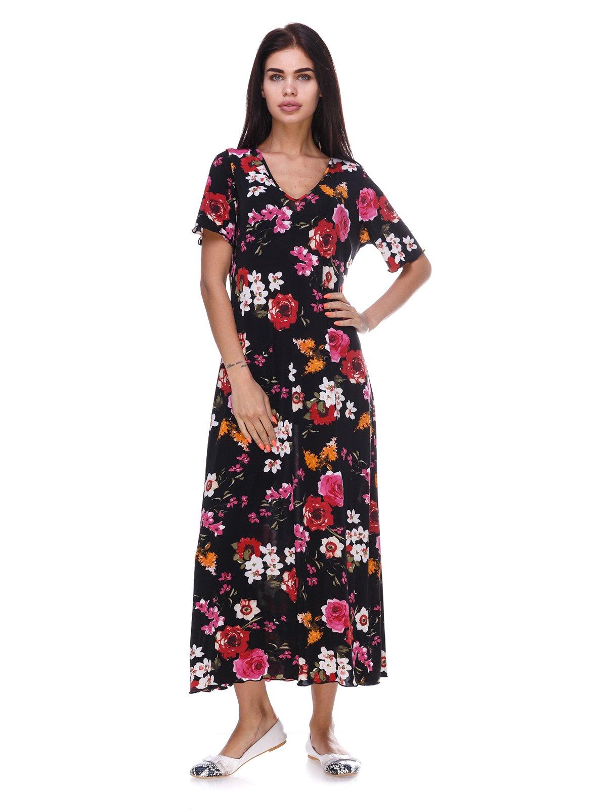 Платье черное с цветочным принтом | 3387708