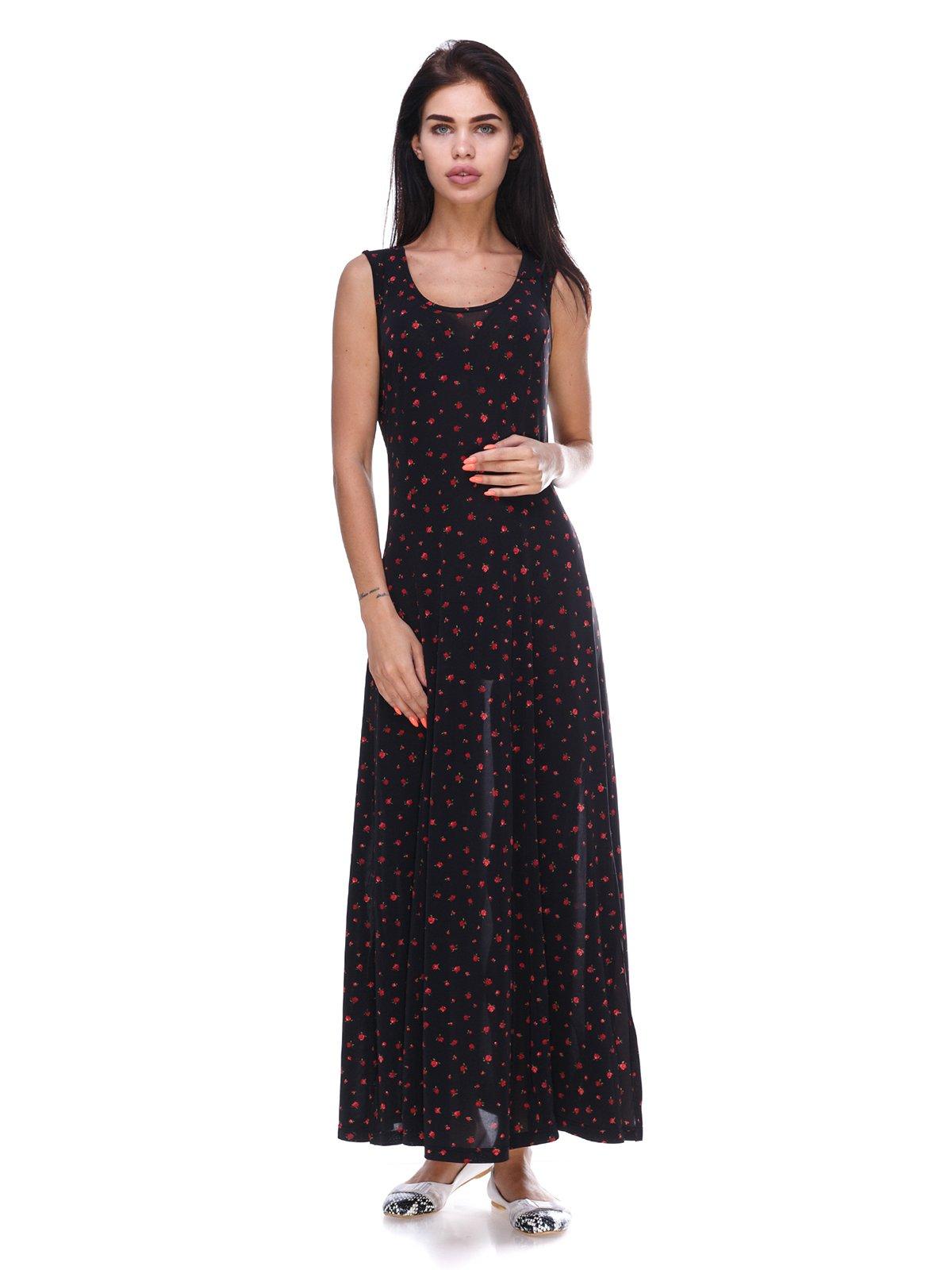 Платье черное с цветочным принтом | 3387674