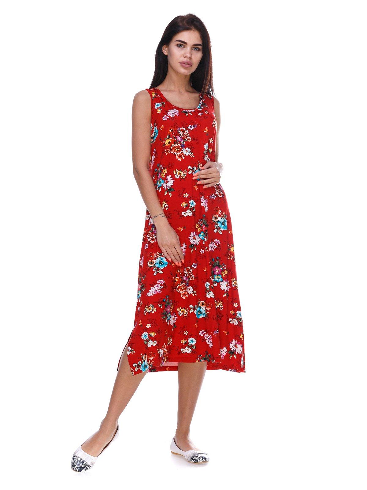 Сукня червона з квітковим принтом | 3387712