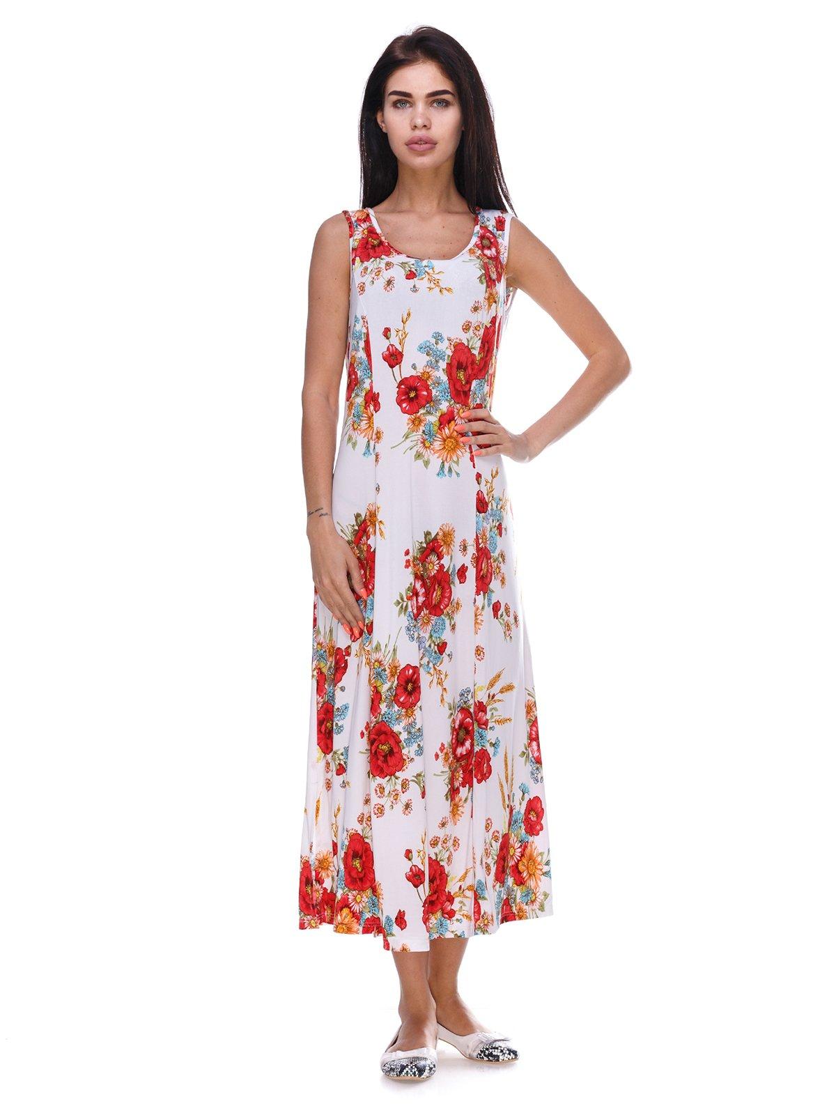 Сукня біла з квітковим принтом | 3387718