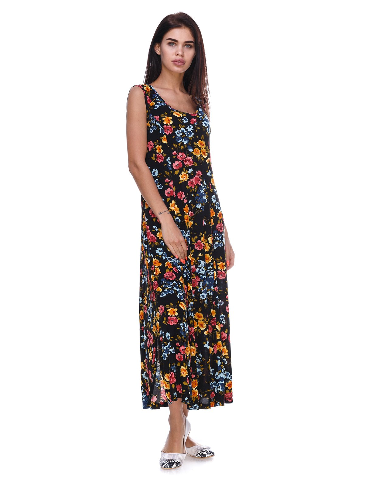Сукня чорна з квітковим принтом | 3387696