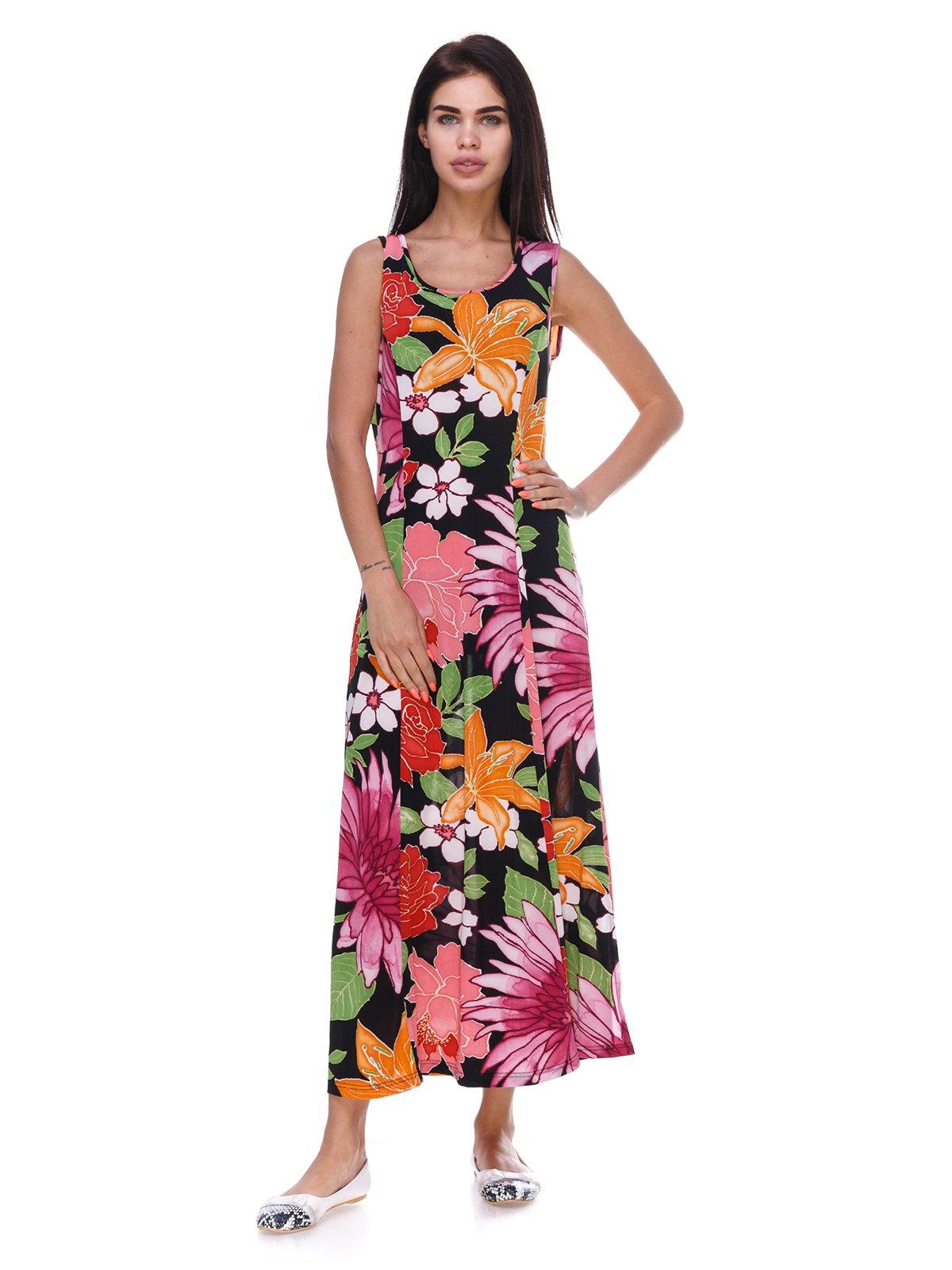 Платье черное с цветочным принтом | 3387756