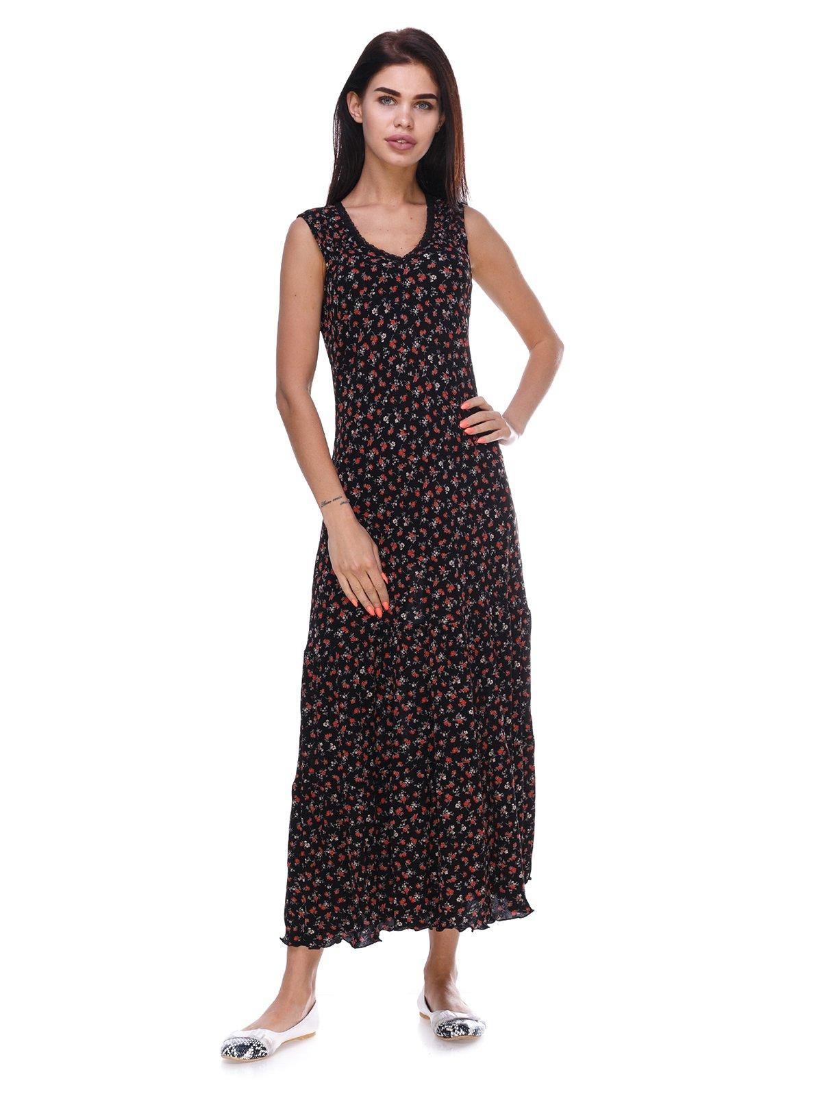 Сукня чорна з квітковим принтом   3387686