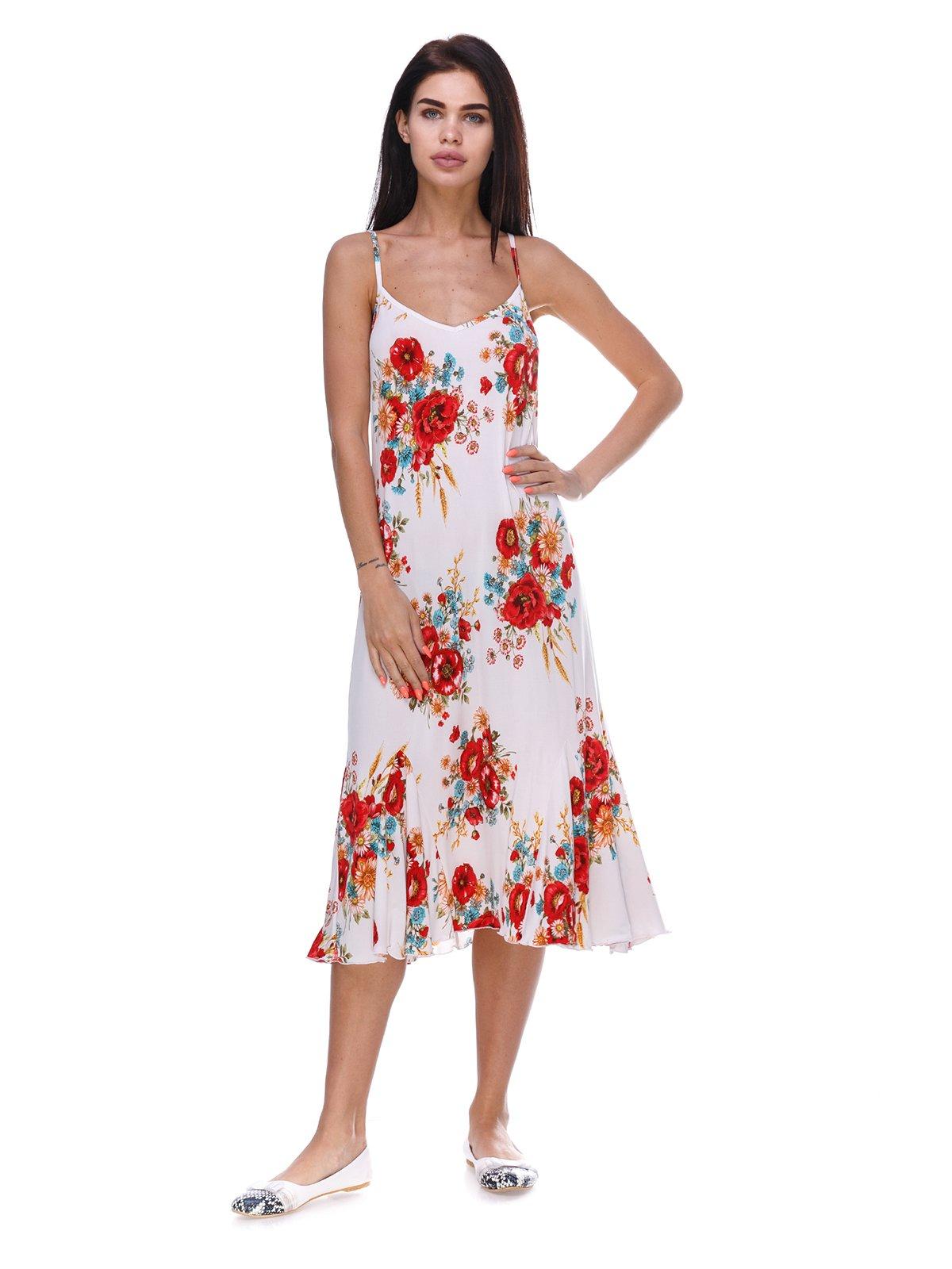 Платье белое с цветочным принтом | 3387716